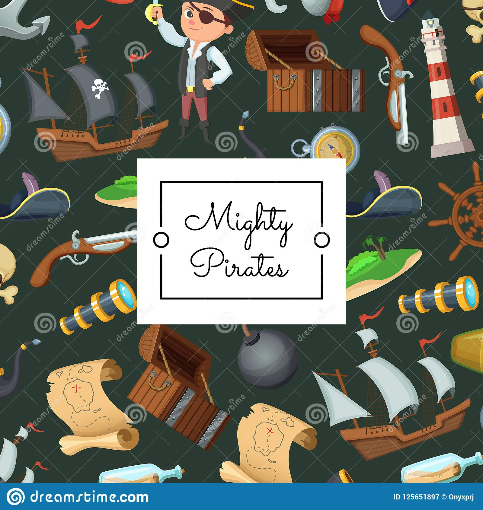 Vector il fondo dei pirati del mare del fumetto con il posto per l illustrazione del testo