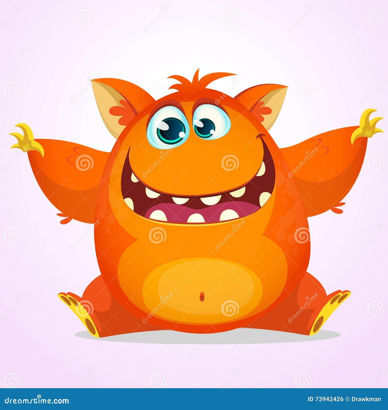 Vector il fumetto di Halloween di un mostro grasso e lanuginoso arancio di Halloween Mostro sveglio con le grandi orecchie che so