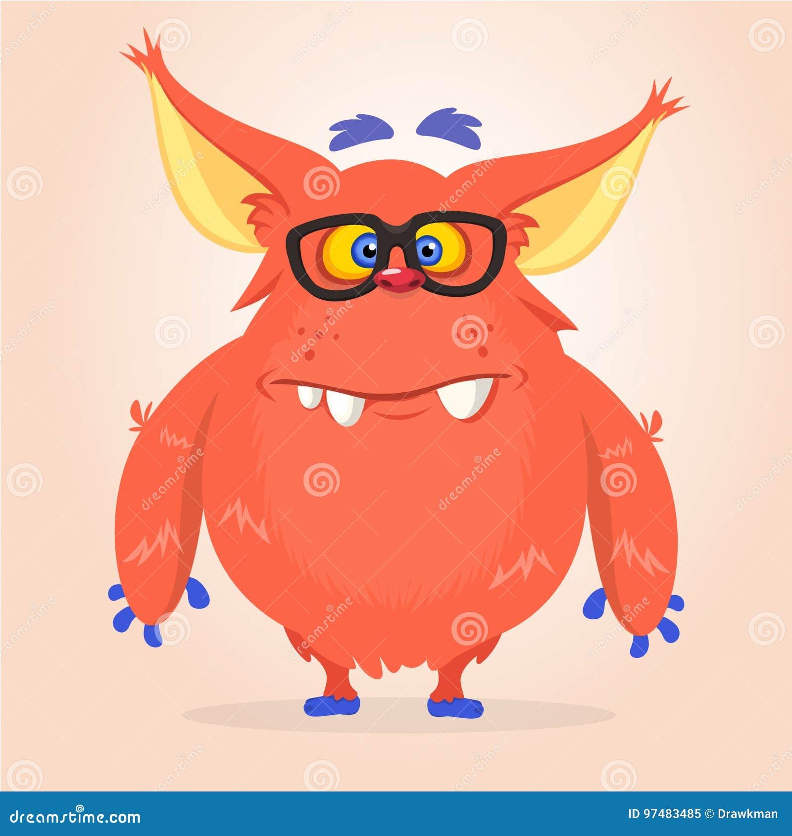 Vector il fumetto di un mostro grasso e lanuginoso rosso di Halloween con le grandi orecchie che indossano i vetri