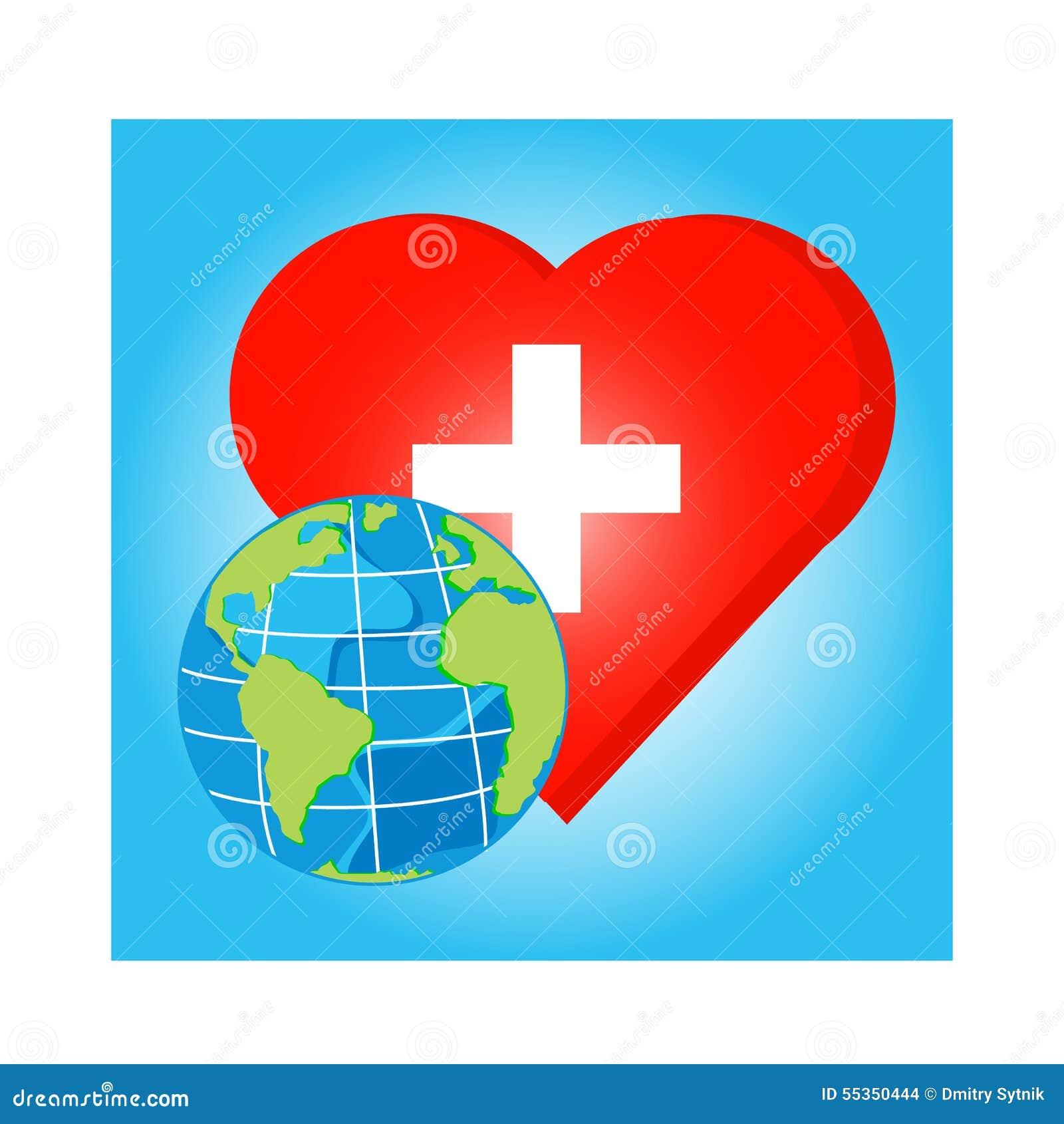Vector il globo su cuore rosso con l incrocio per il giorno di salute