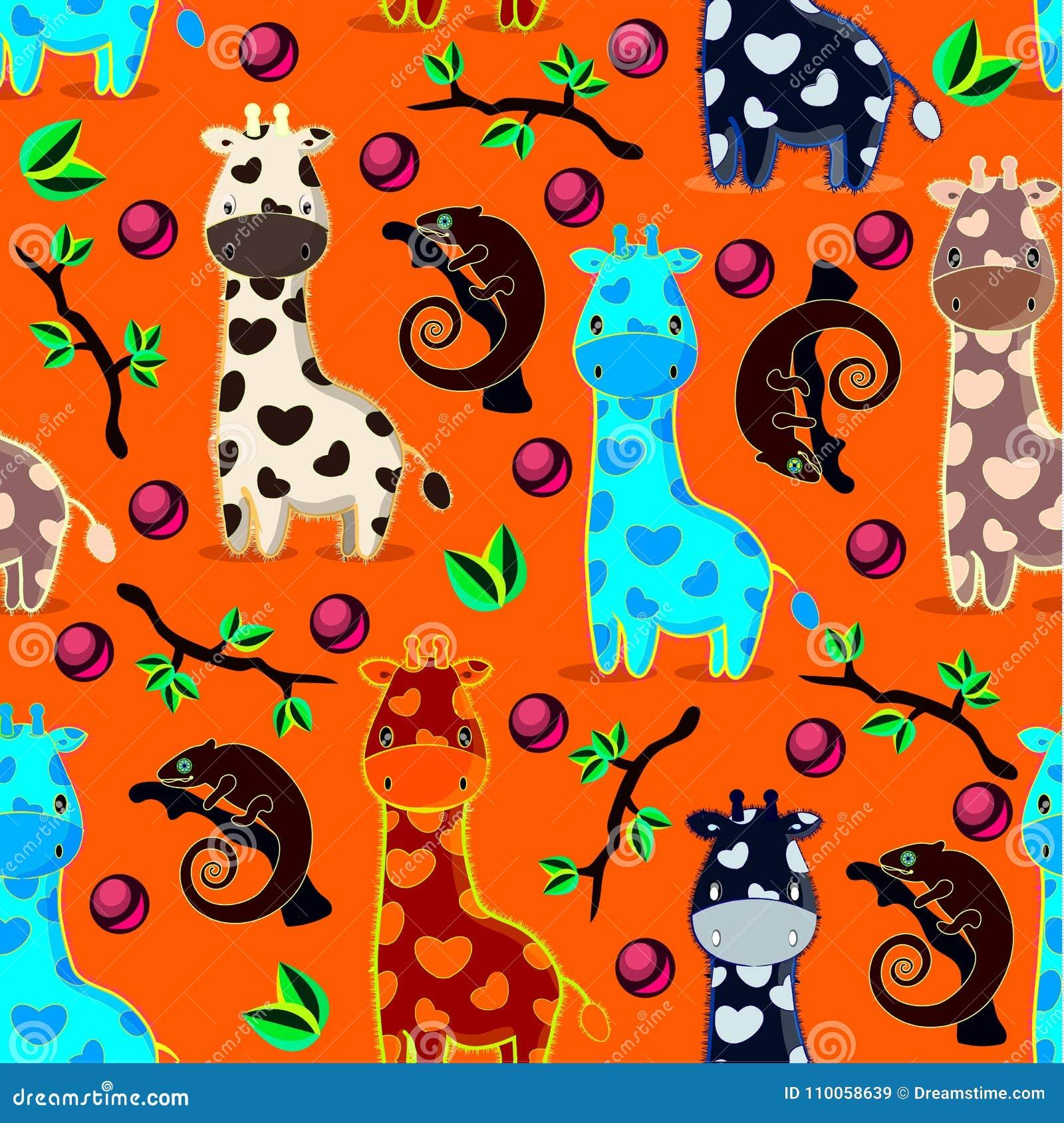 Vector il modello dei seamles con le giraffe, i camaleonti, rami