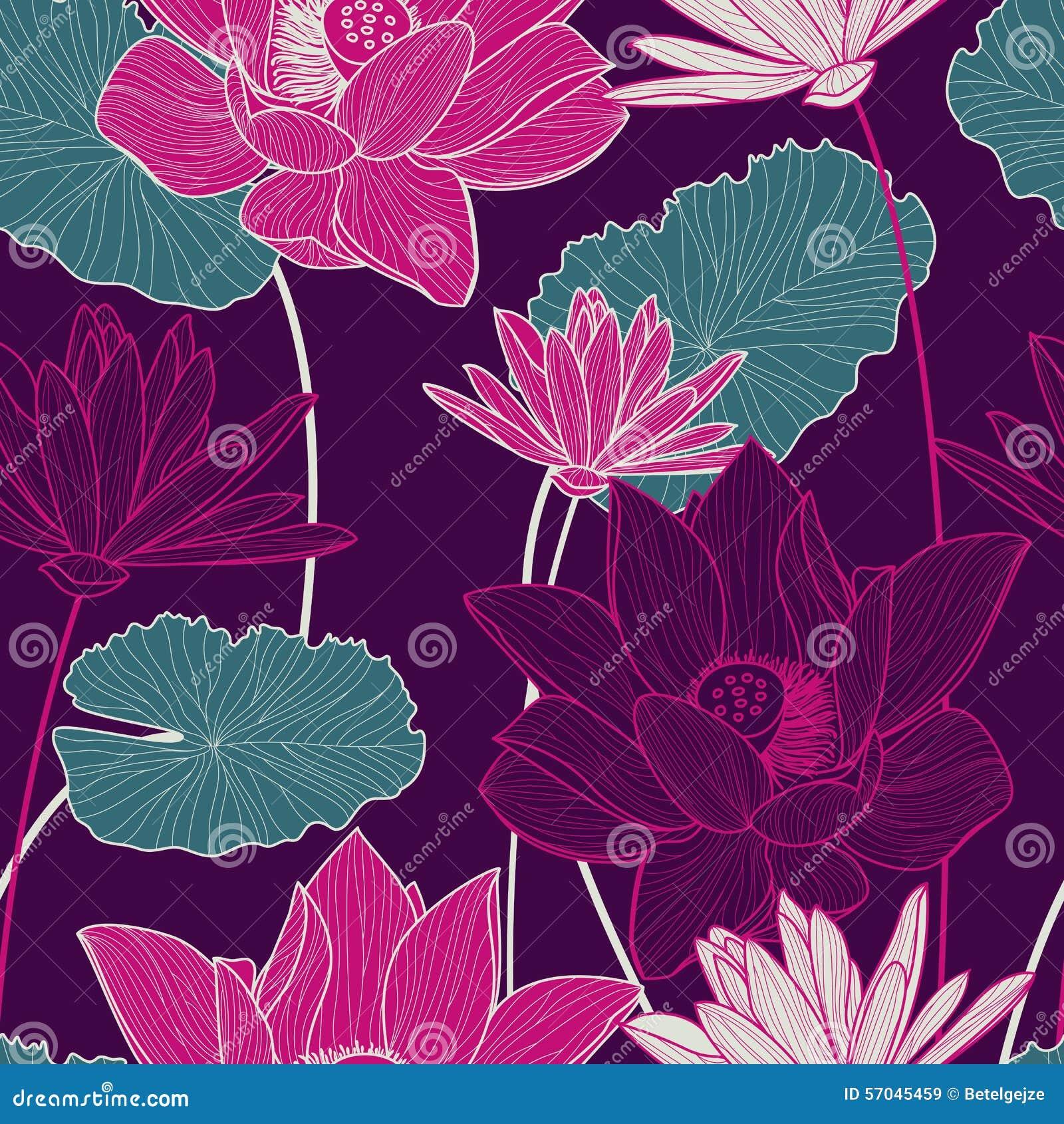 Vector il modello senza cuciture con il bei fiore di loto e gre rosa