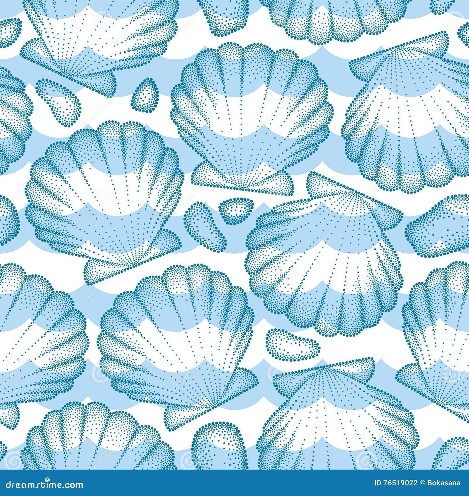 Vector il modello senza cuciture con la conchiglia o il pettine punteggiata in blu, in ciottoli ed in onde Tema marino ed acquati