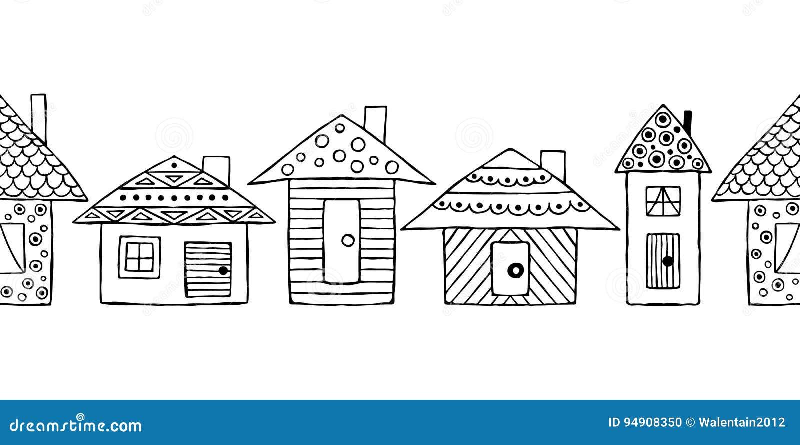 vector il modello senza cuciture disegnato mano case puerili bianco e nero stilizzate decorative stile di schizzo di 94908350