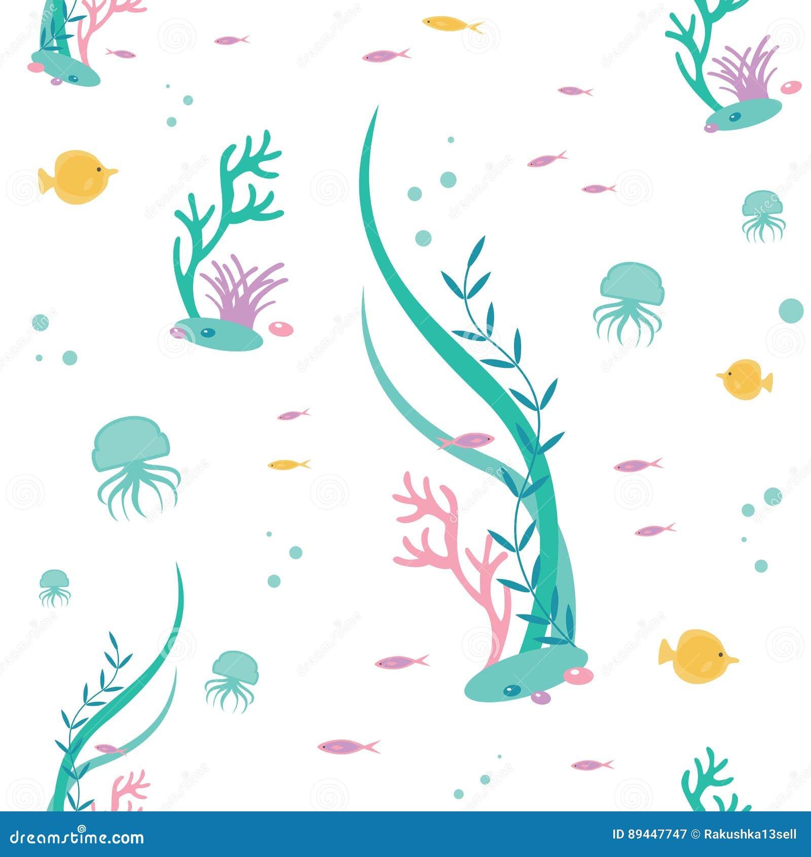 Vector il modello senza cuciture piano degli elementi il mondo subacqueo Illustrazione della flora tropicale profonda e della fau