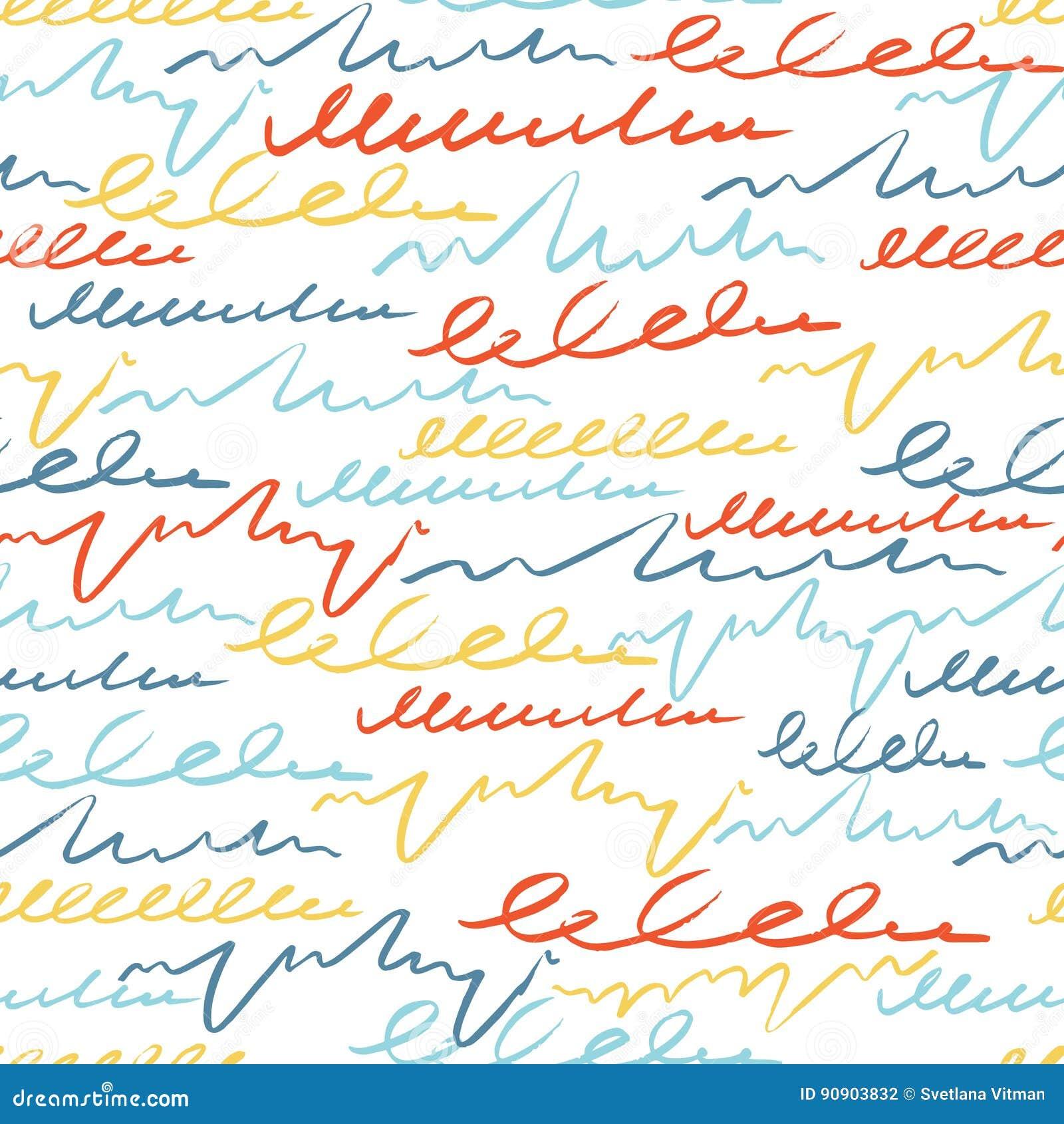 Vector il modello senza cuciture variopinto con la lettera dei colpi della spazzola Fantasia di estate Colore dell arcobaleno su