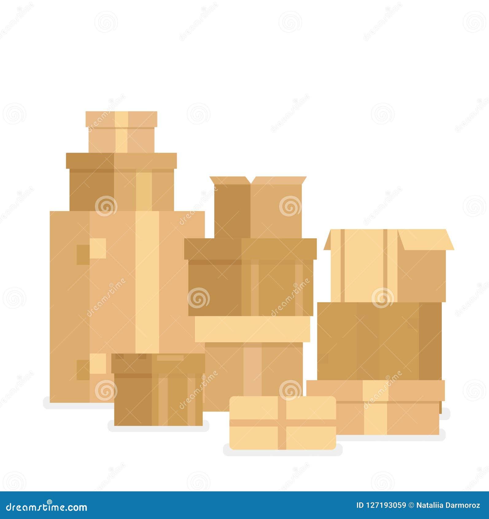 Vector il mucchio dell illustrazione delle scatole di cartone sigillate impilate delle merci Scatole e contenitori di consegna is