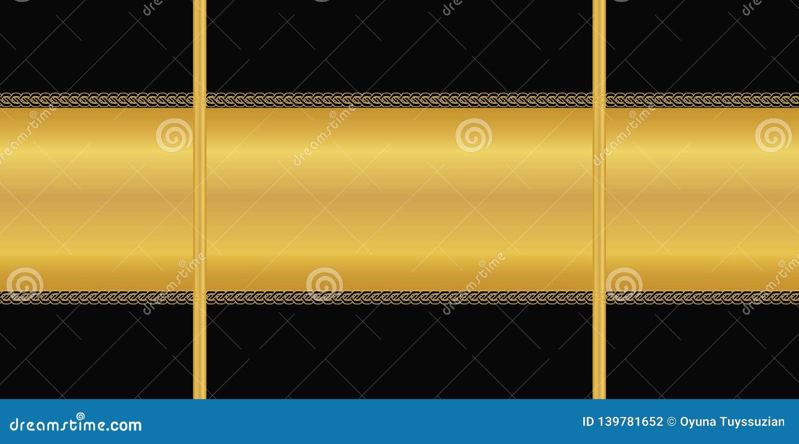 Vector il reticolo senza giunte Banda dorata orizzontale, ornamento di art deco su fondo nero Carta da parati, carta da imballagg