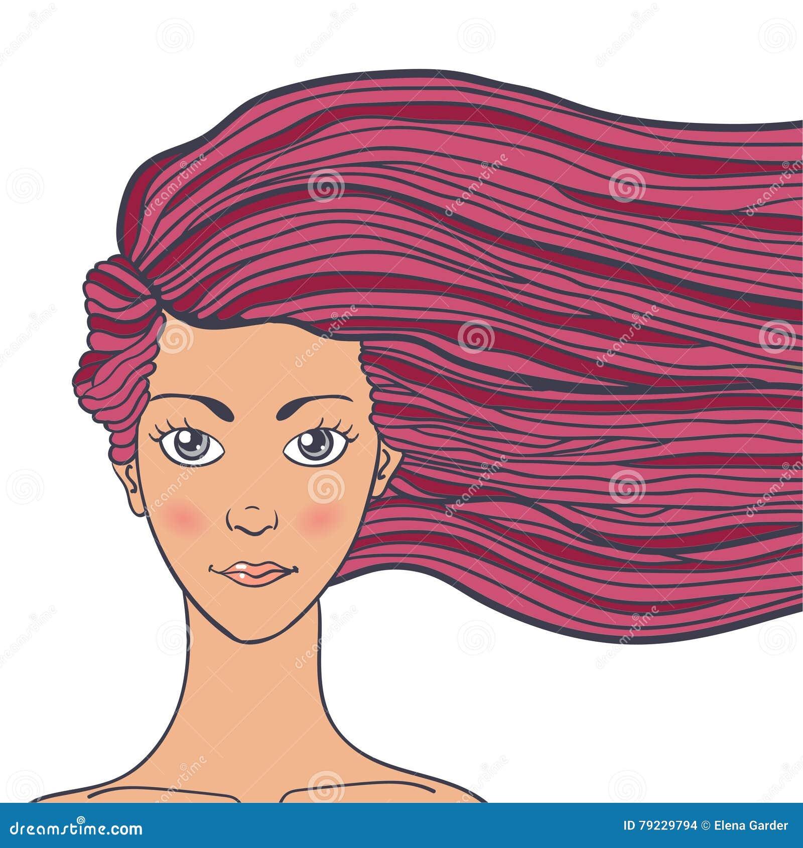Vector Il Ritratto Dell'illustrazione Di Una Giovane Donna ...