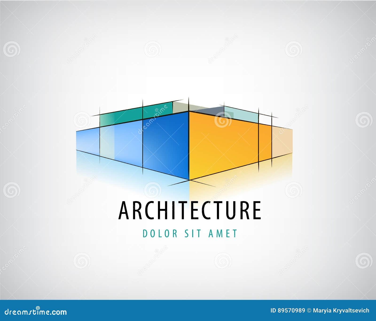 Vector il segno astratto dell 39 architettura 3d il logo di for Programmi architettura 3d