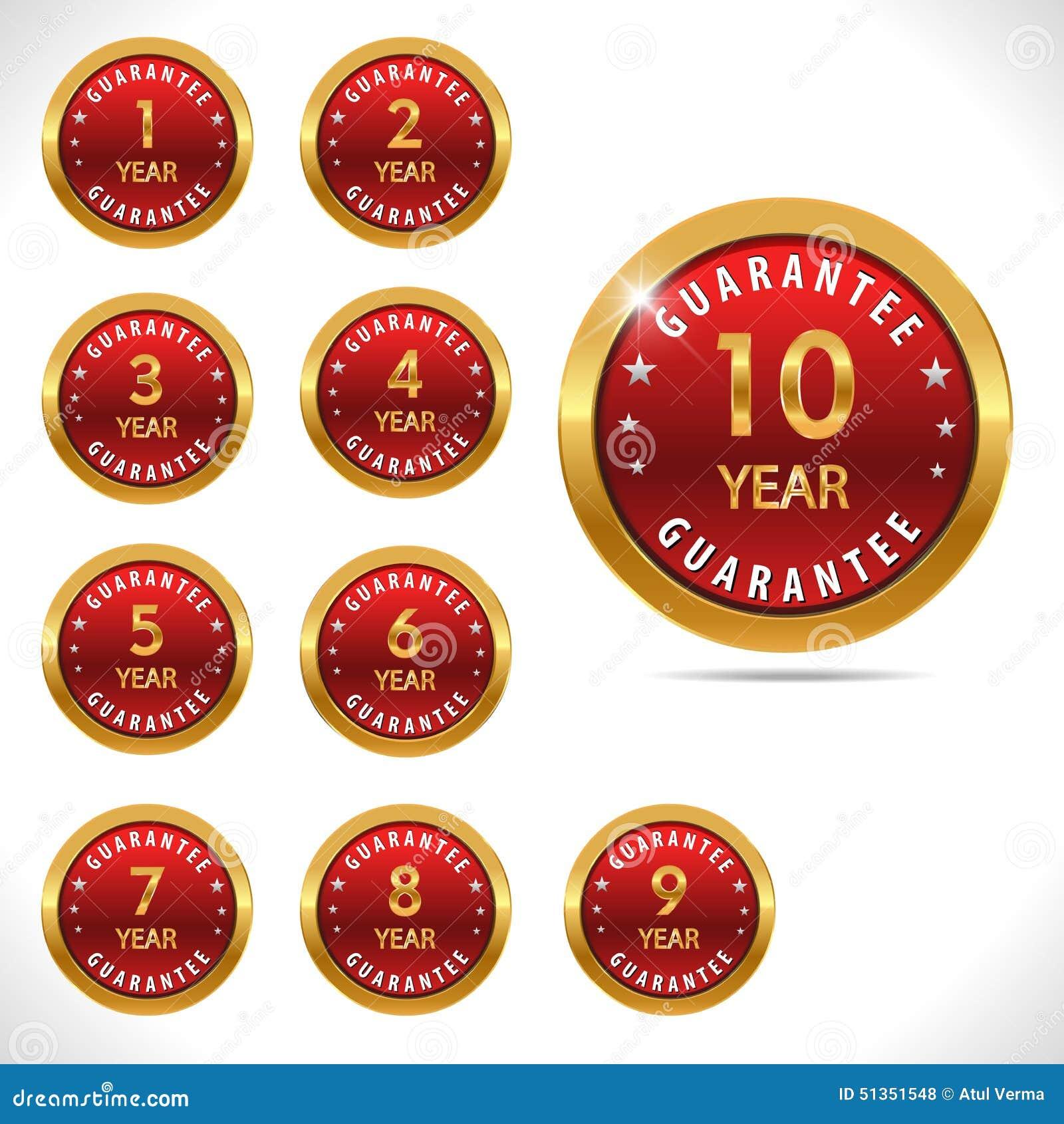 Vector il segno di garanzia, insieme di etichetta della garanzia per tutti gli anni