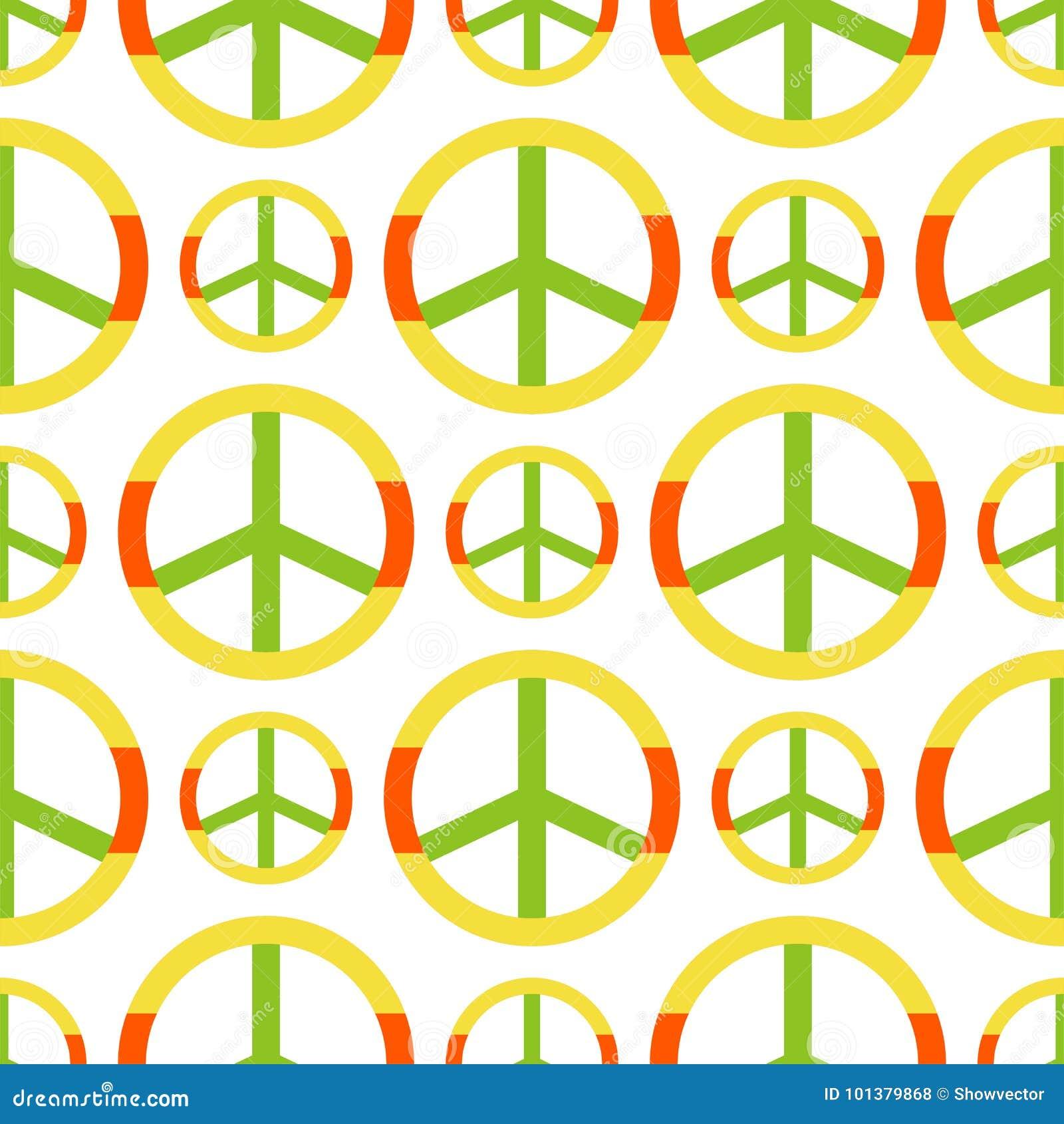Vector il simbolo di pace fatto del fondo senza cuciture dell ornamentale del modello di stile del segno di pacifismo di tema di