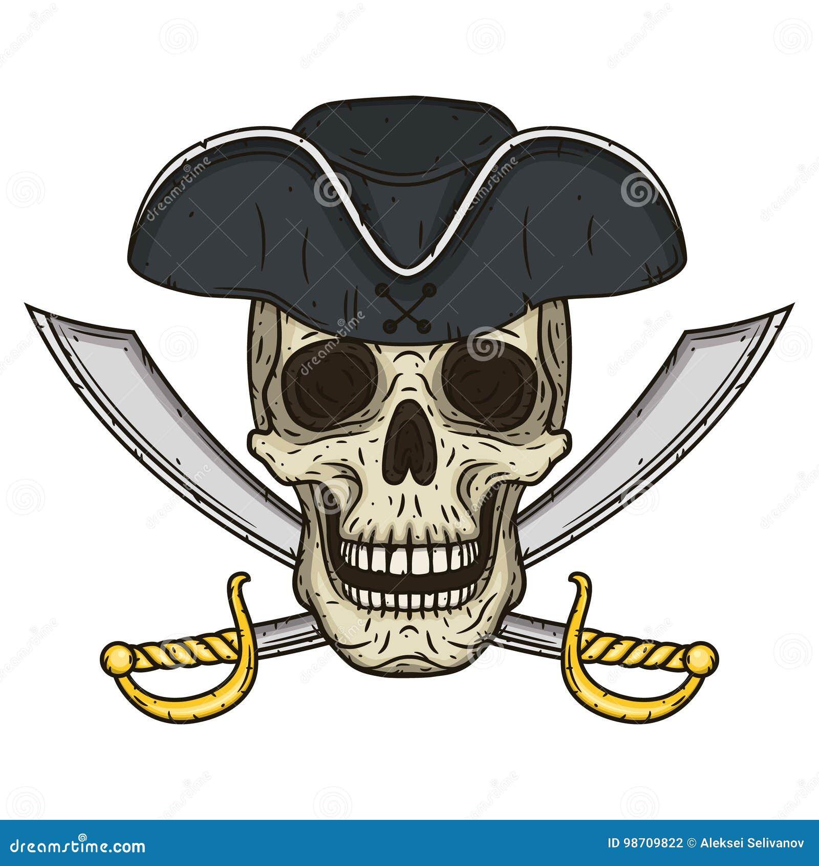 Vector il singolo cranio del pirata del fumetto in cappello con le spade trasversali