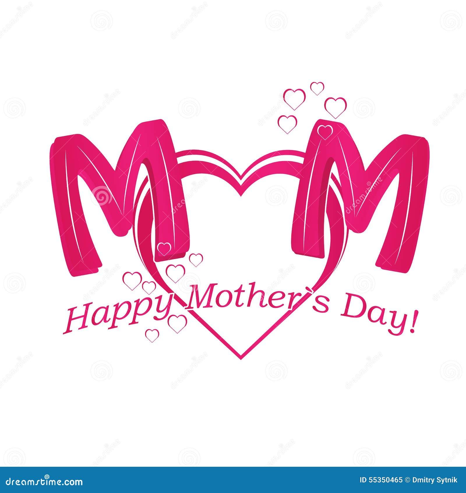 Vector il testo felice di festa della Mamma con cuore in colo rosso e porpora
