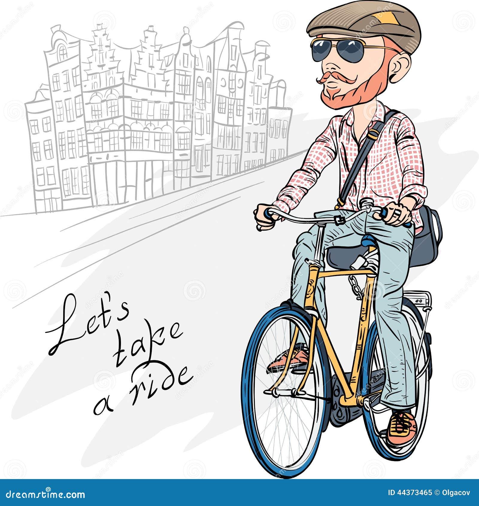 Vector il tipo barbuto dei pantaloni a vita bassa d avanguardia su una bici