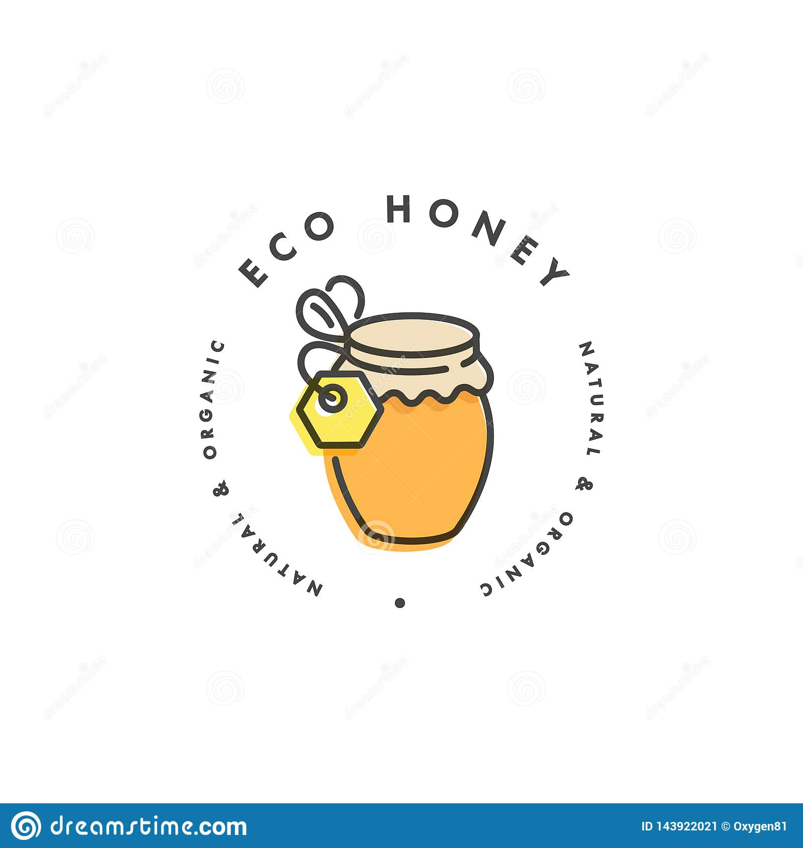 Vector illustartion logo and design template or badge. Organic and eco honey label- bottle of honey. Linear style.