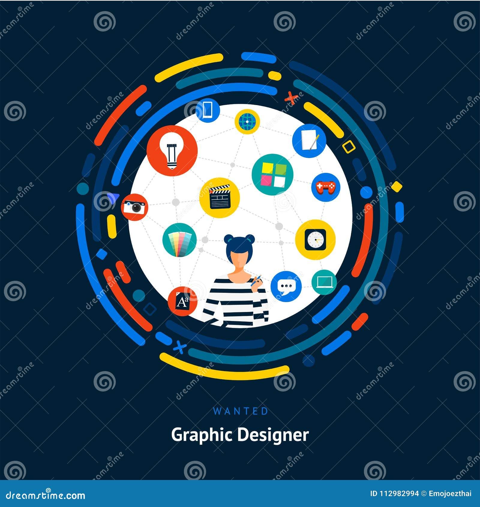 Vector illustrate flat design concept creative director. creative idea skill for get job or success people.