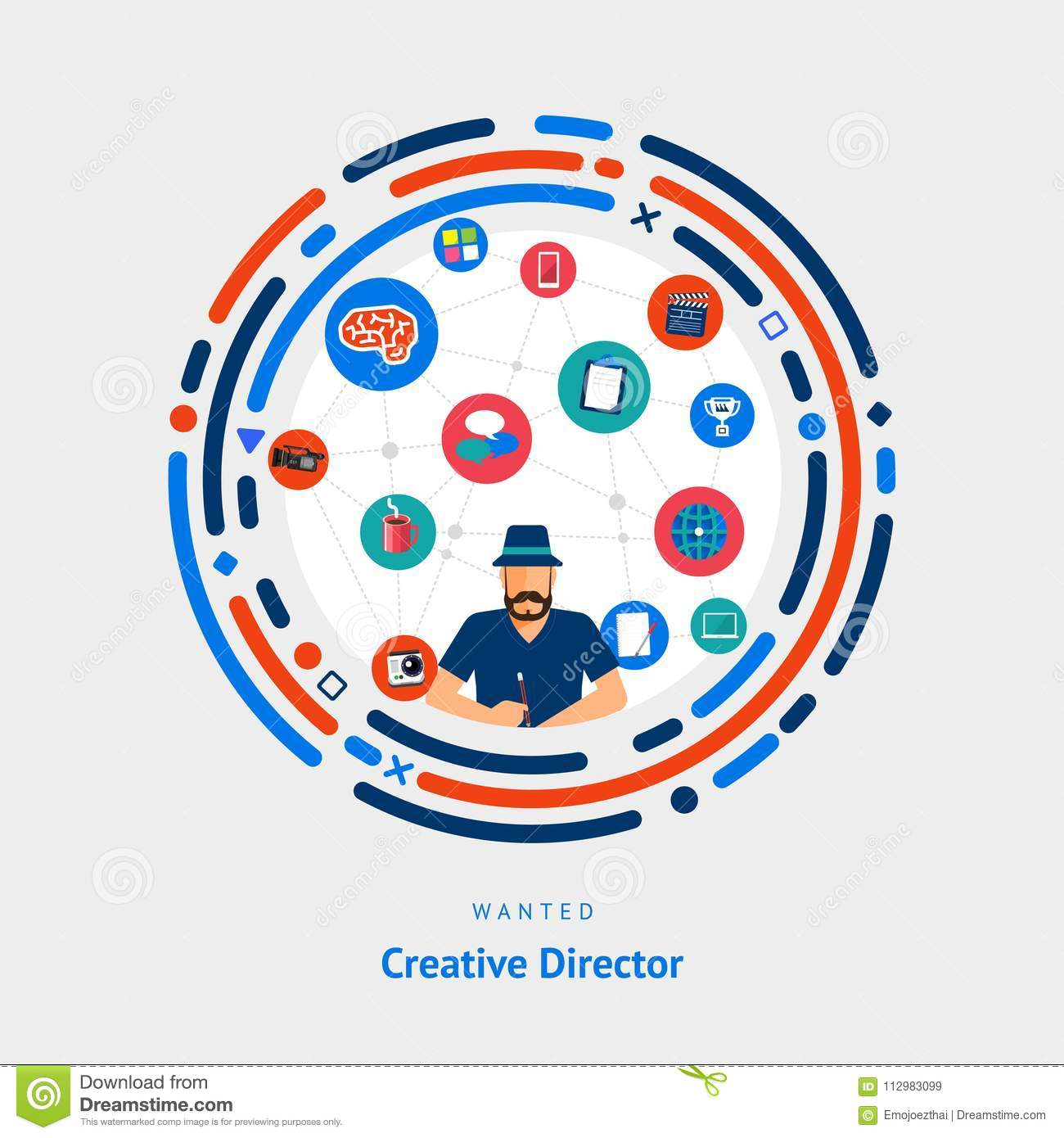 Vector illustrate flat design concept creative director. creative idea skill for get job or success people.