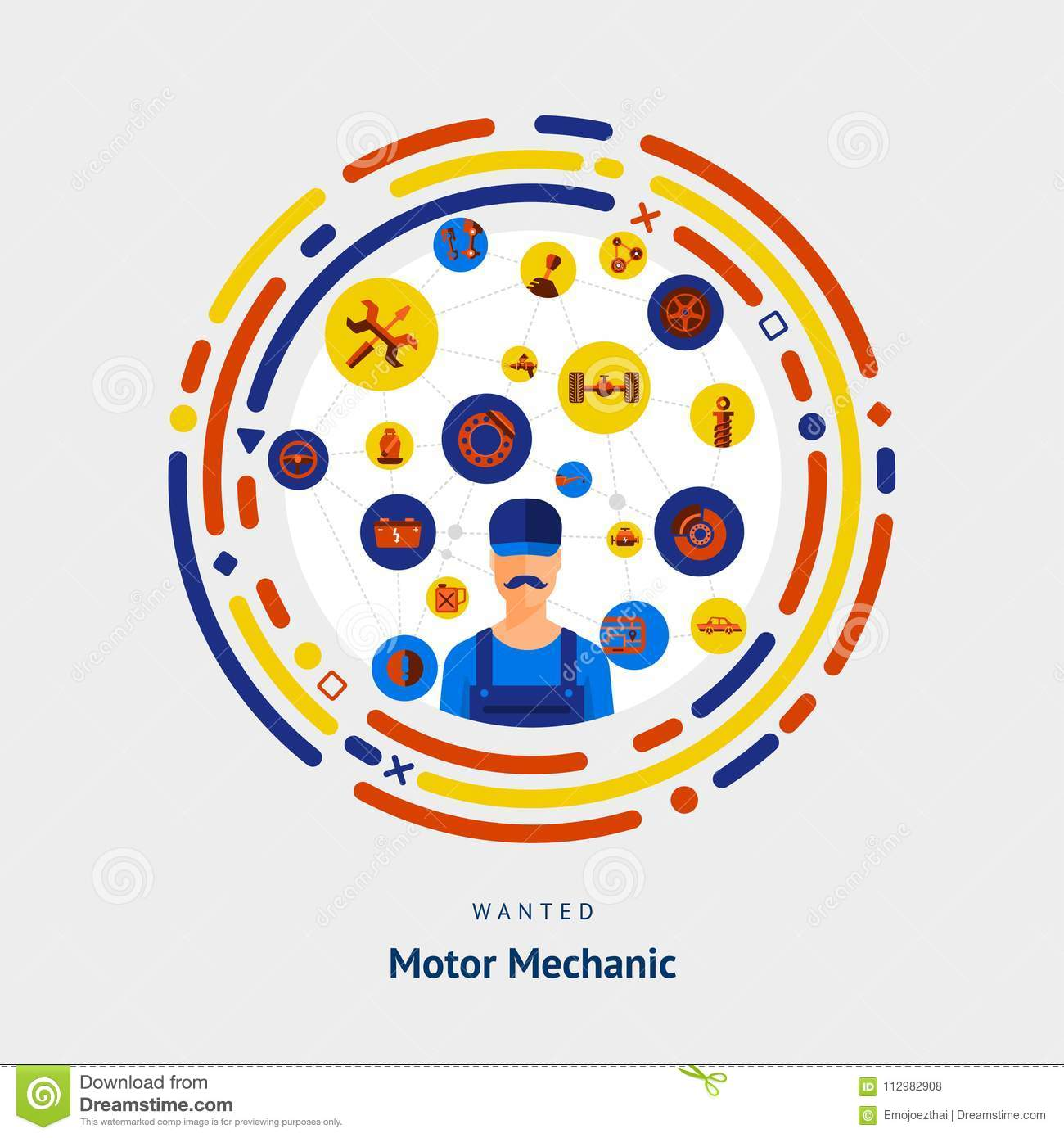 Vector illustrate flat design concept motor mechanician skill.