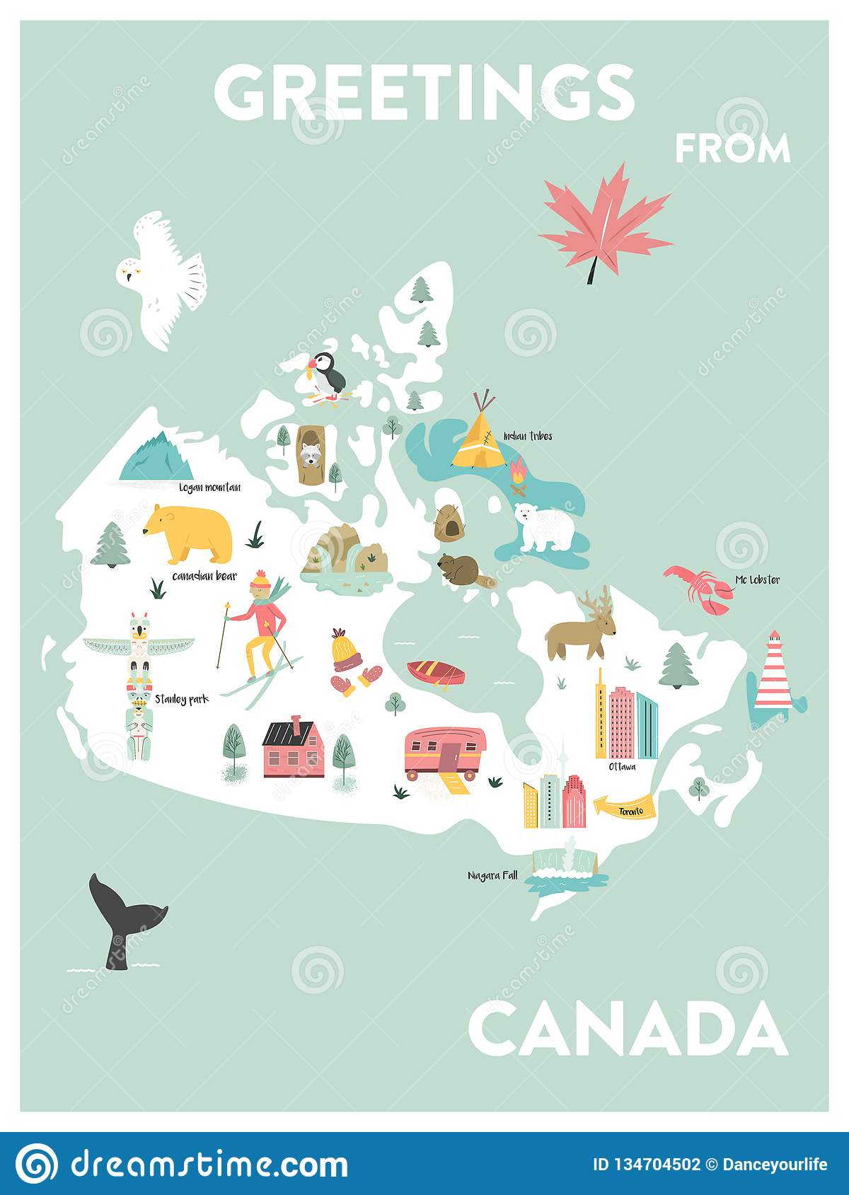 City Map Of Canada.Vector Illustrated Cartoon Map Of Canada Stock Vector Illustration