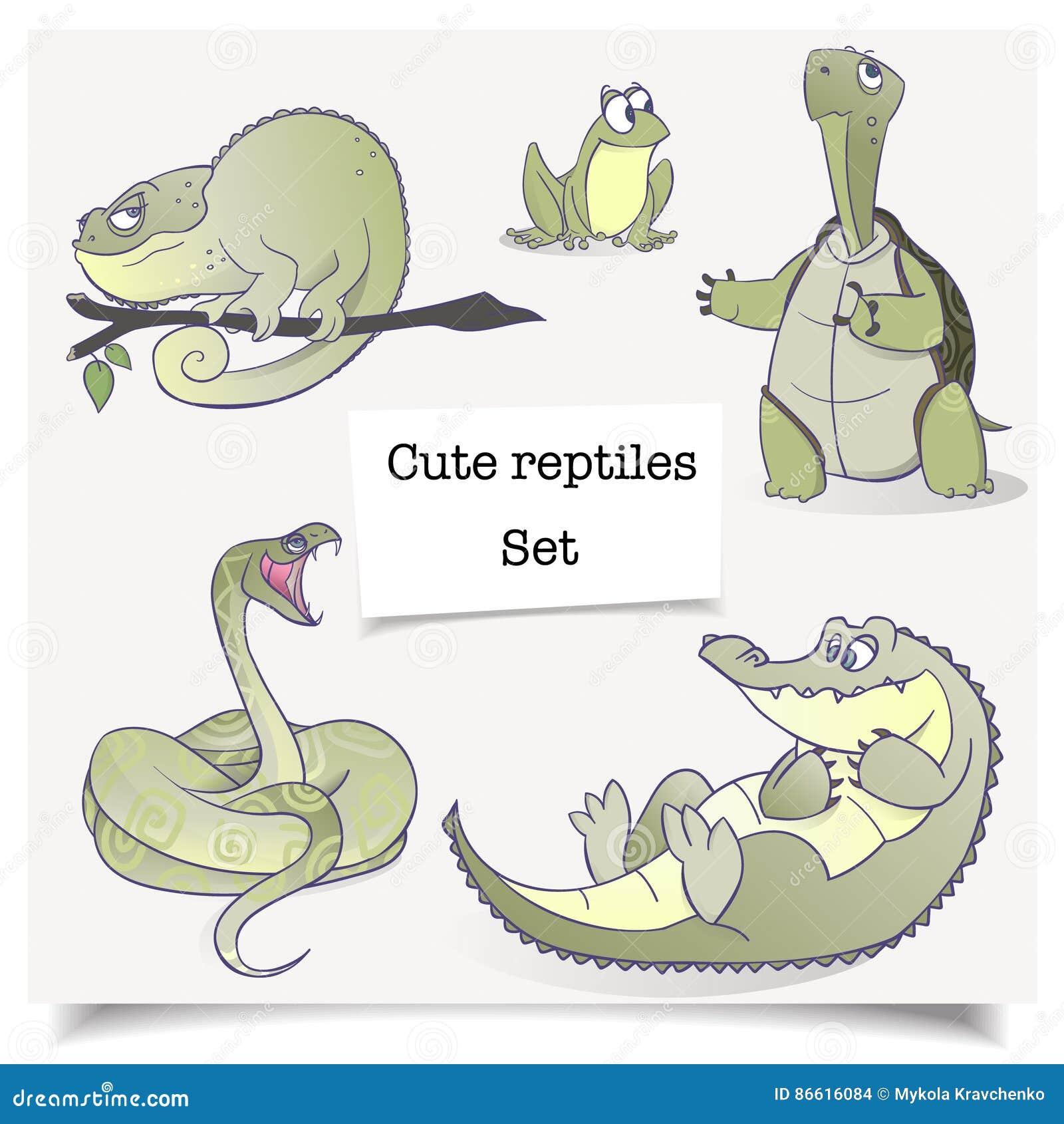 Vector illustratie Hand-drawn dieren Reeks inzamelingen van beeldverhaalreptielen