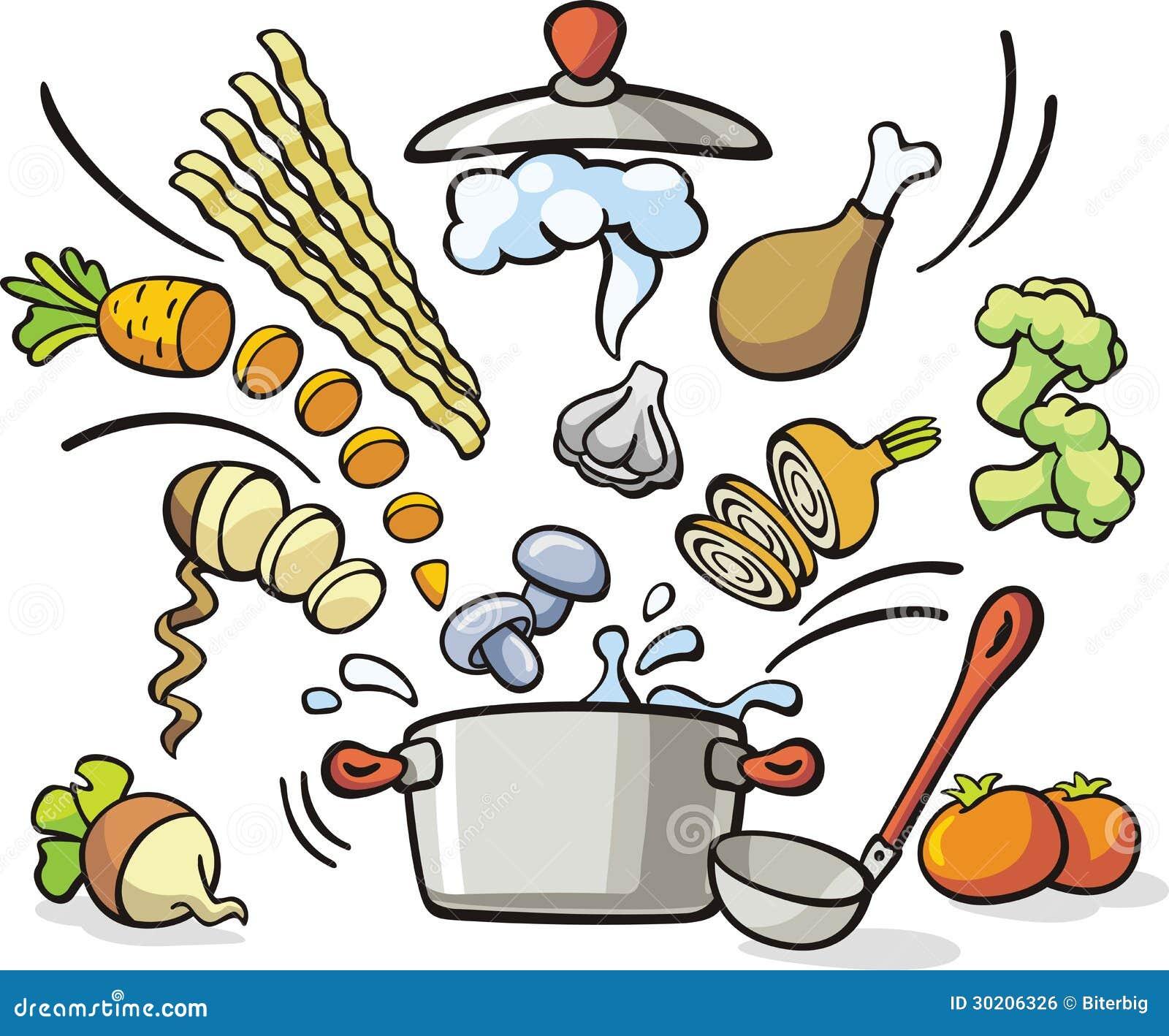Het koken soepvoorbereiding vector illustratie afbeelding 30206326 - Koken afbeelding ...