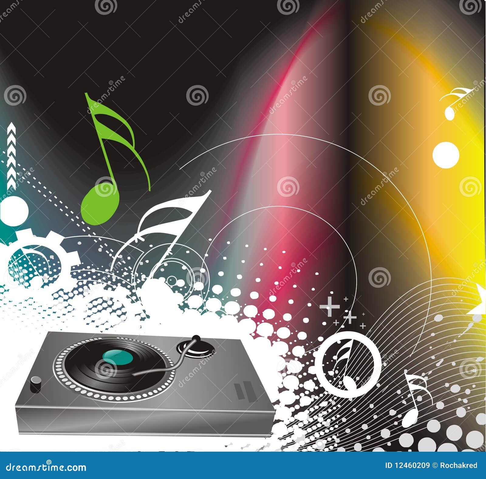 Vector illustratie op een muzikaal thema met turnta