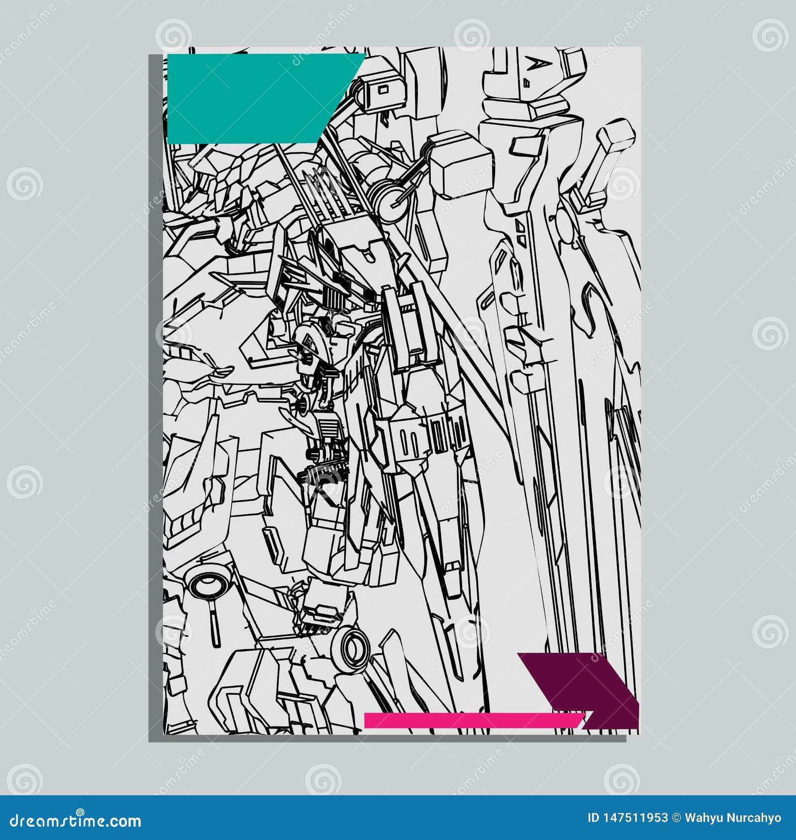 Vector illustratie robot heilige meetkunde Voor t-shirtontwerp, affiche, sticker lijnstijl - Het vector