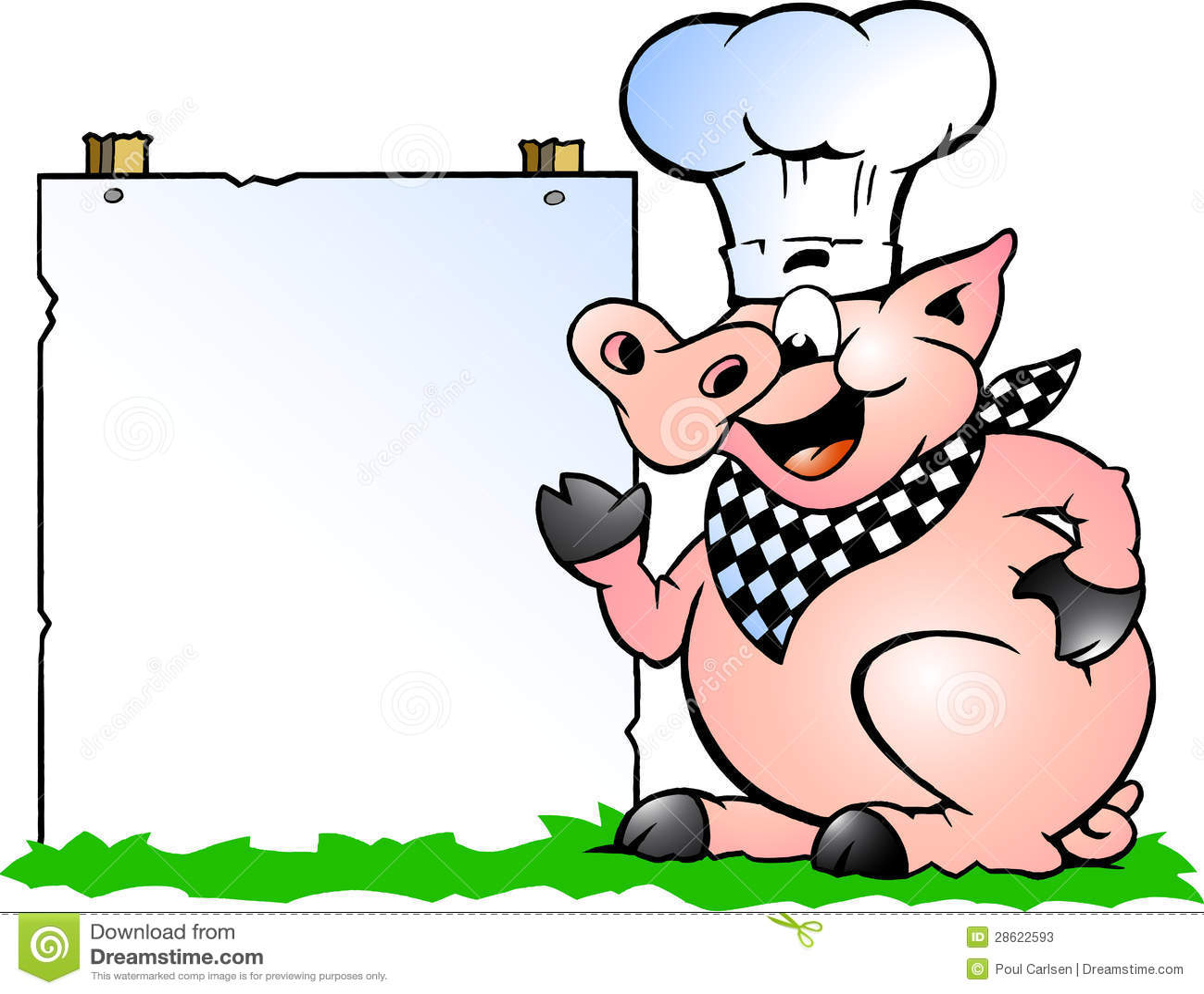 vector illustratie van een varken die van de chef kok en Pig Roast Invitations Pig Cooking Clip Art