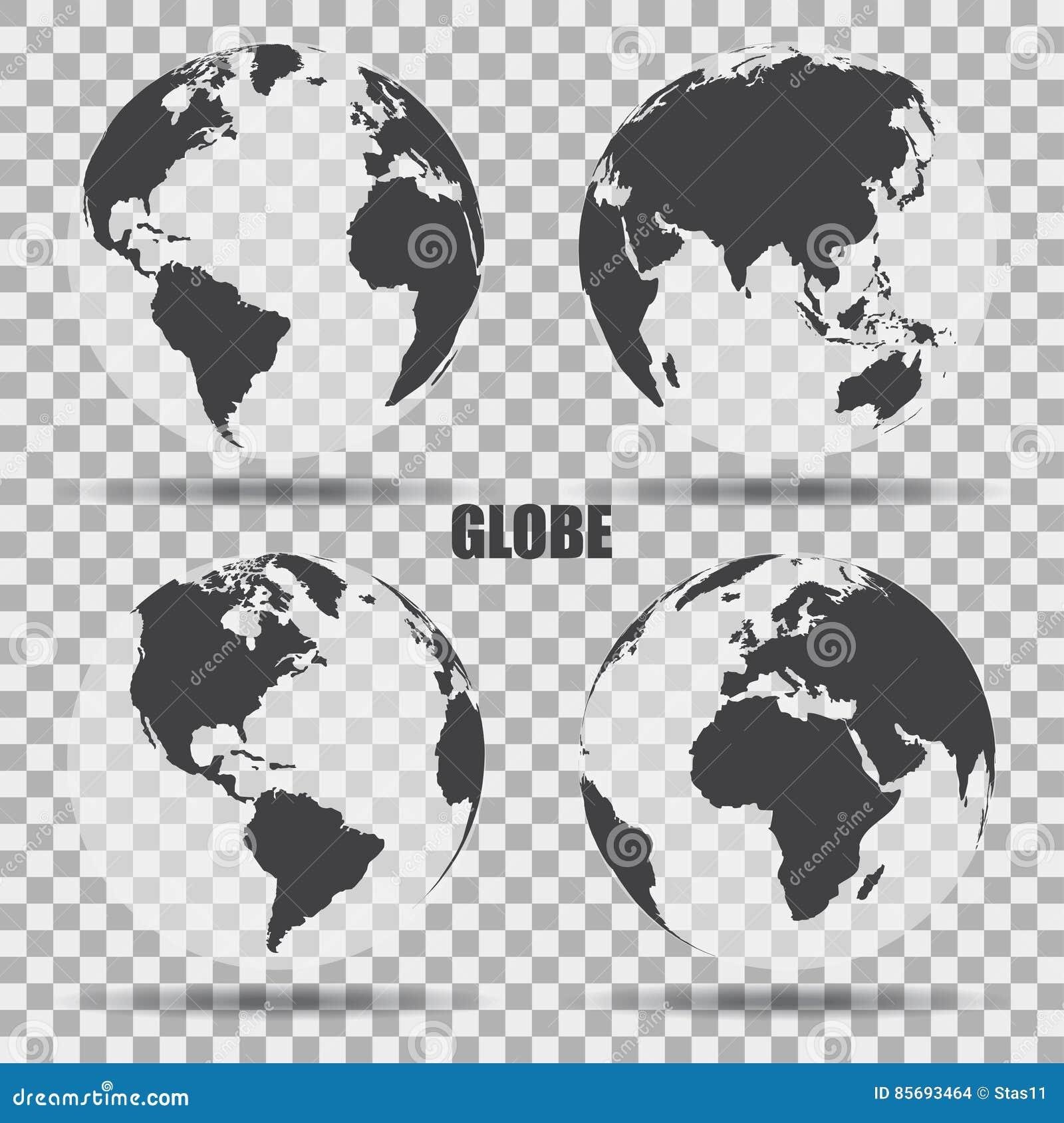 Vector Illustratie van grijze bolpictogrammen met verschillende continenten Transparante Achtergrond Realistische schaduw