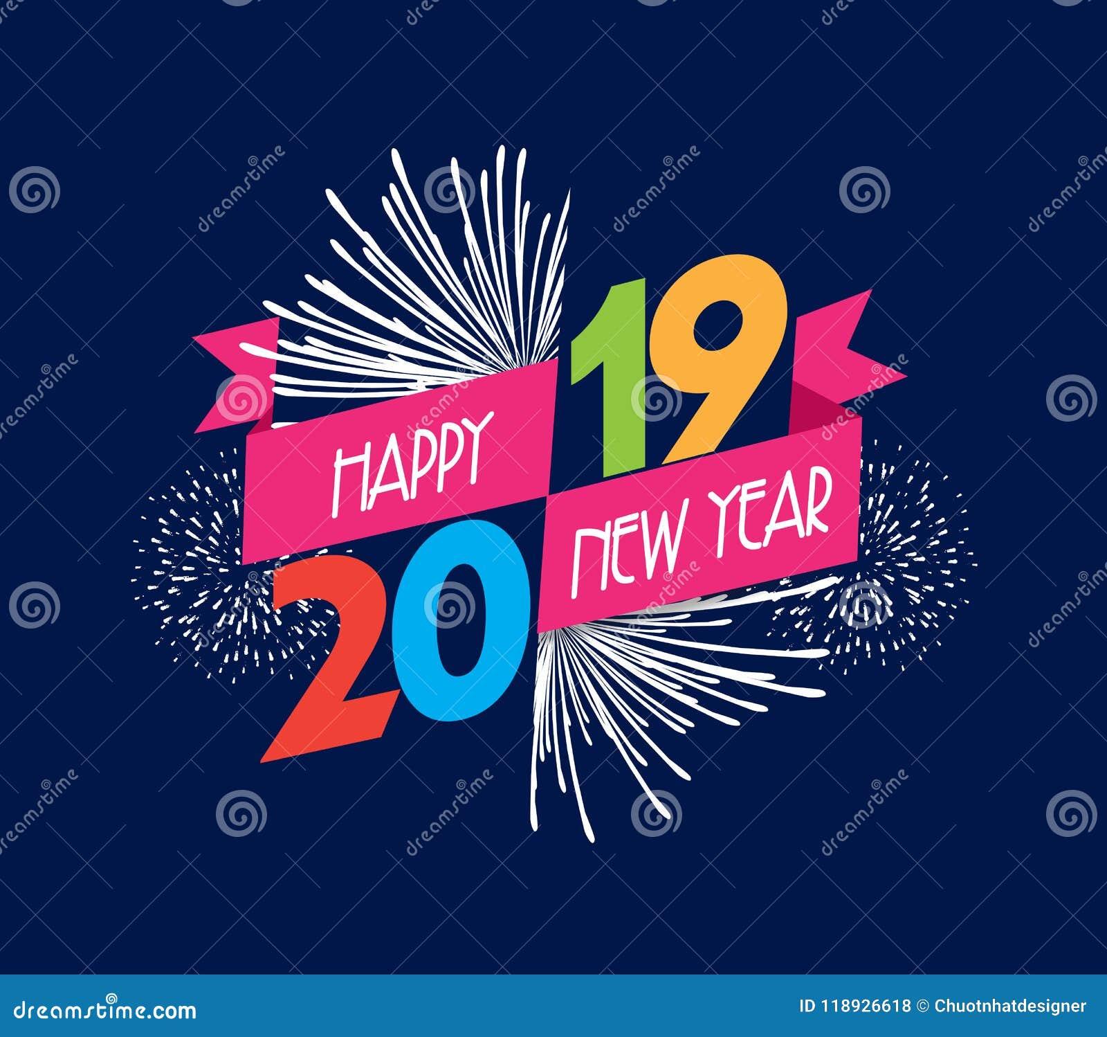 Vector illustratie van vuurwerk Gelukkige nieuwe jaar 2019 achtergrond