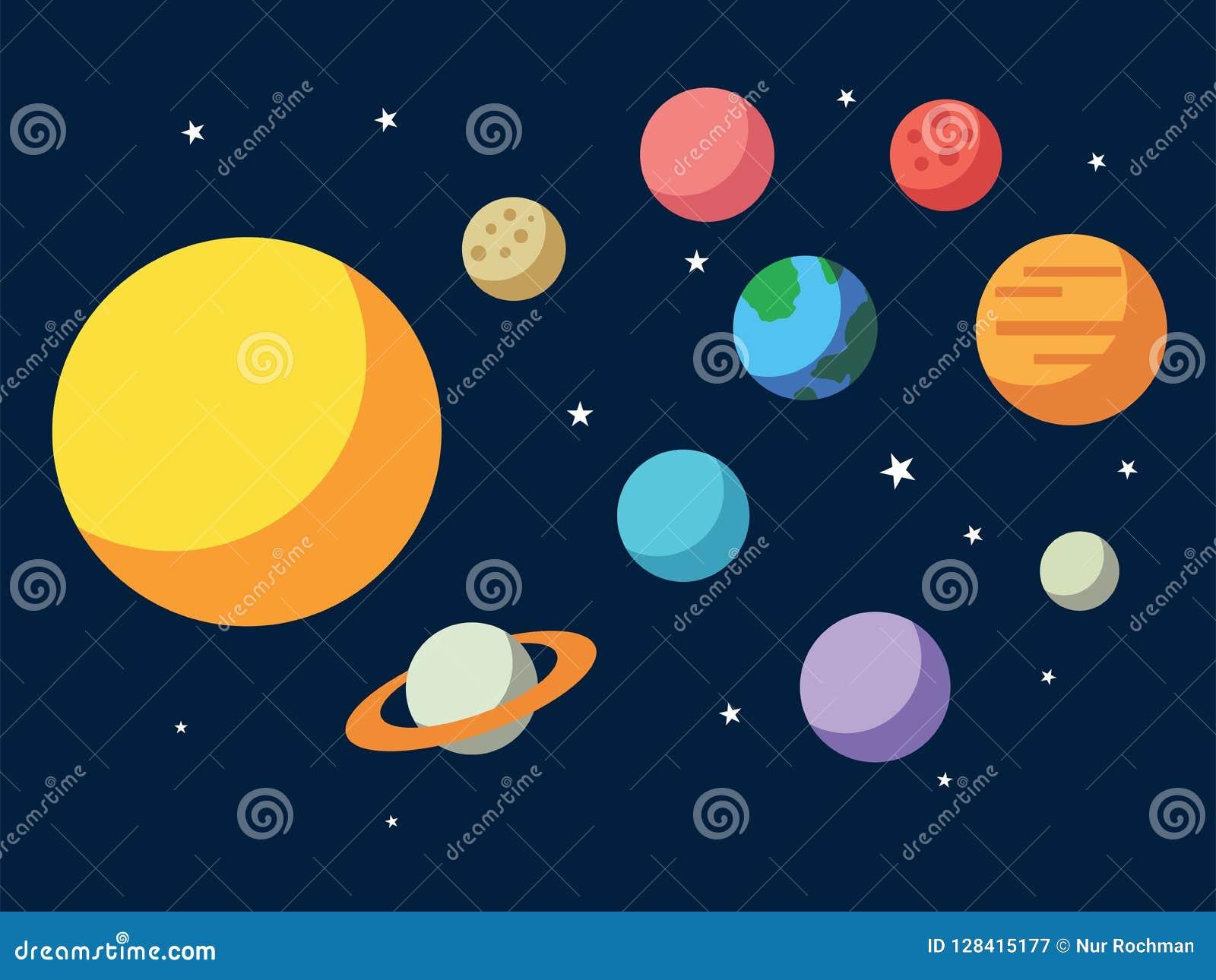 Vector illustratie van Zonnecompatibel systeem System Alle planeten Sun Mercury Venus Moon Earth Mars in de hemel Ruimte, de astr