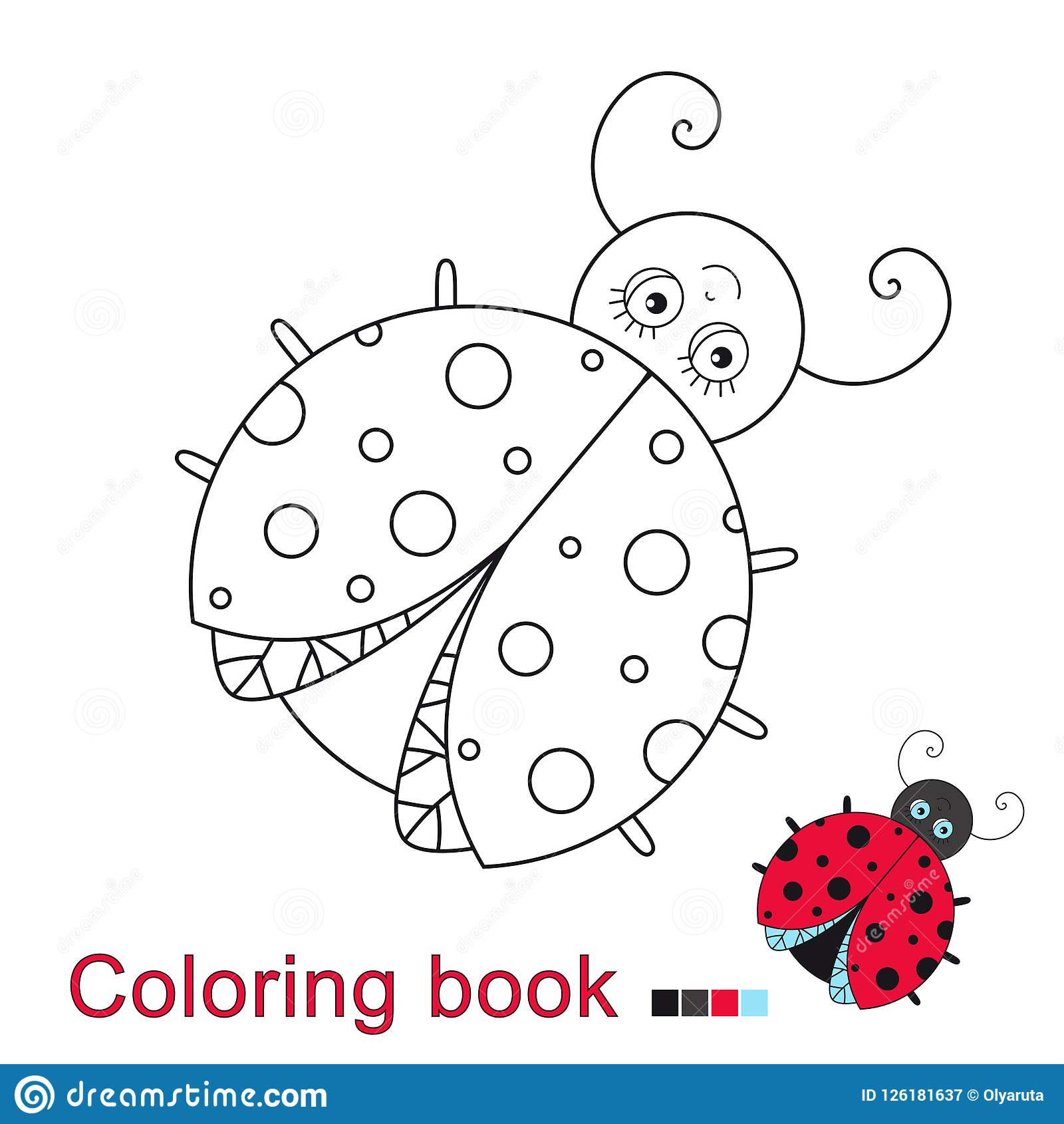 Vector Illustration Of Funny Ladybug For Coloring Book Stock Vector ...
