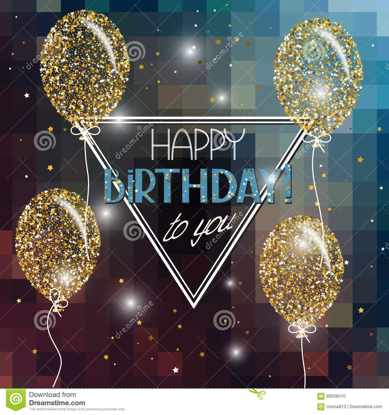 Vector Illustration With Abstract Air Balloons Stars And Happy Birthday Wishes