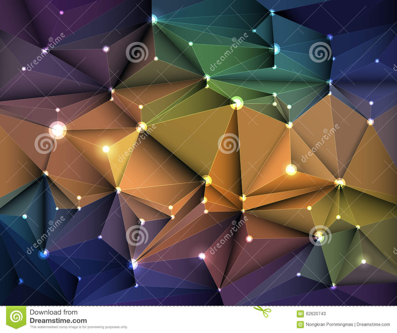 Vector illustration Abstract 3D Geometric, Polygonal, Triangle pattern in molecule structure shape