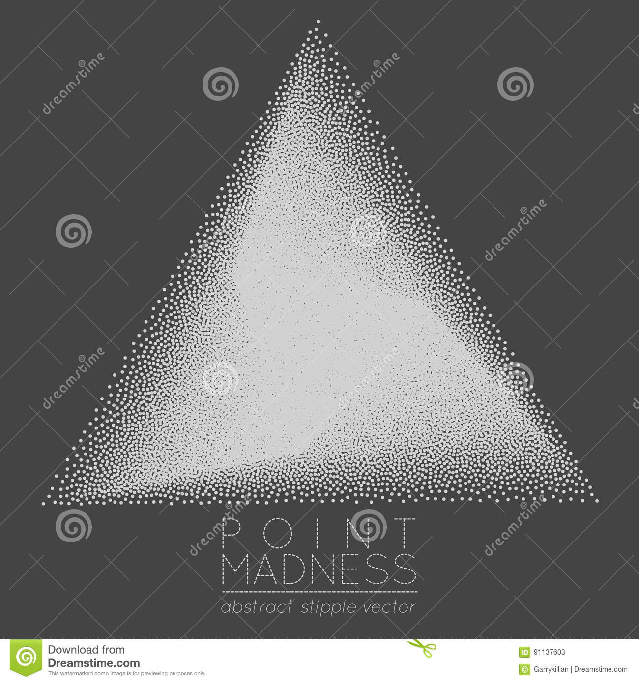 Vector Illustration Of Abstract Dotted Symbol Delta Fading Outside