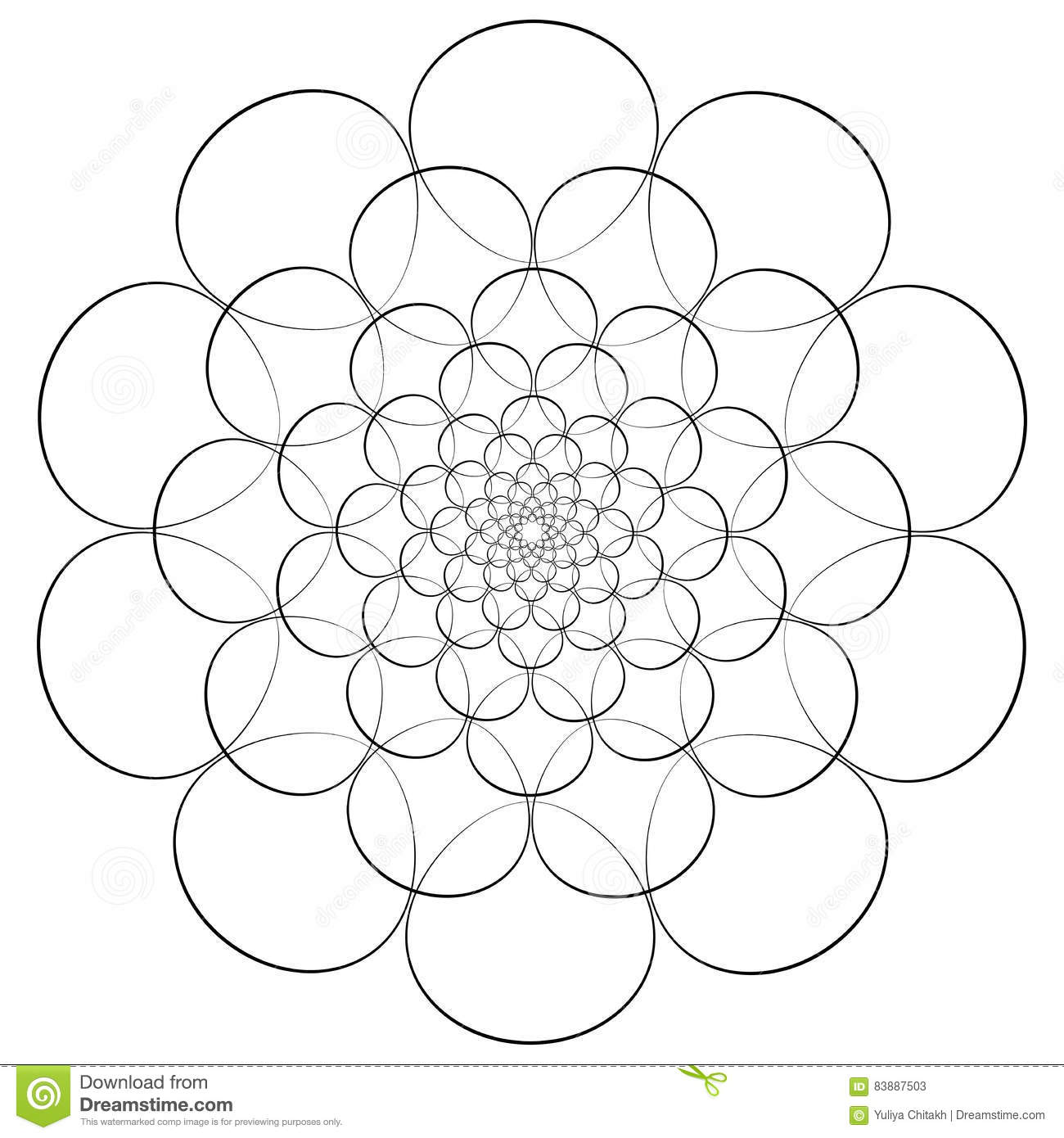 vector illustration abstract floral print abstract flower mandala or star for coloring