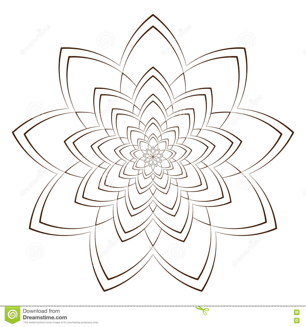 vector illustration abstract flower for coloring round ornament