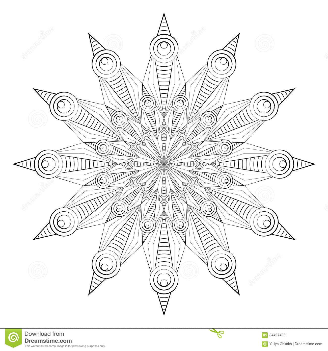 Vector Illustration Abstract Geometric Pattern For Coloring
