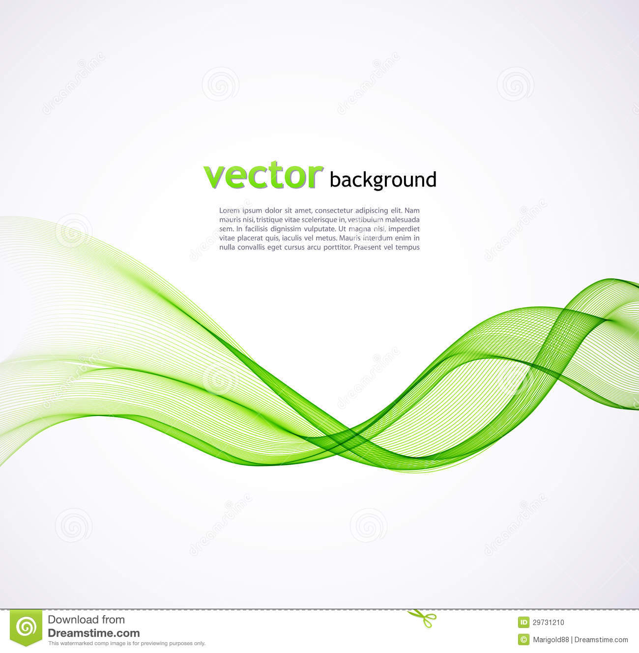 Abstract Green Wave Background Stock Vector Illustration