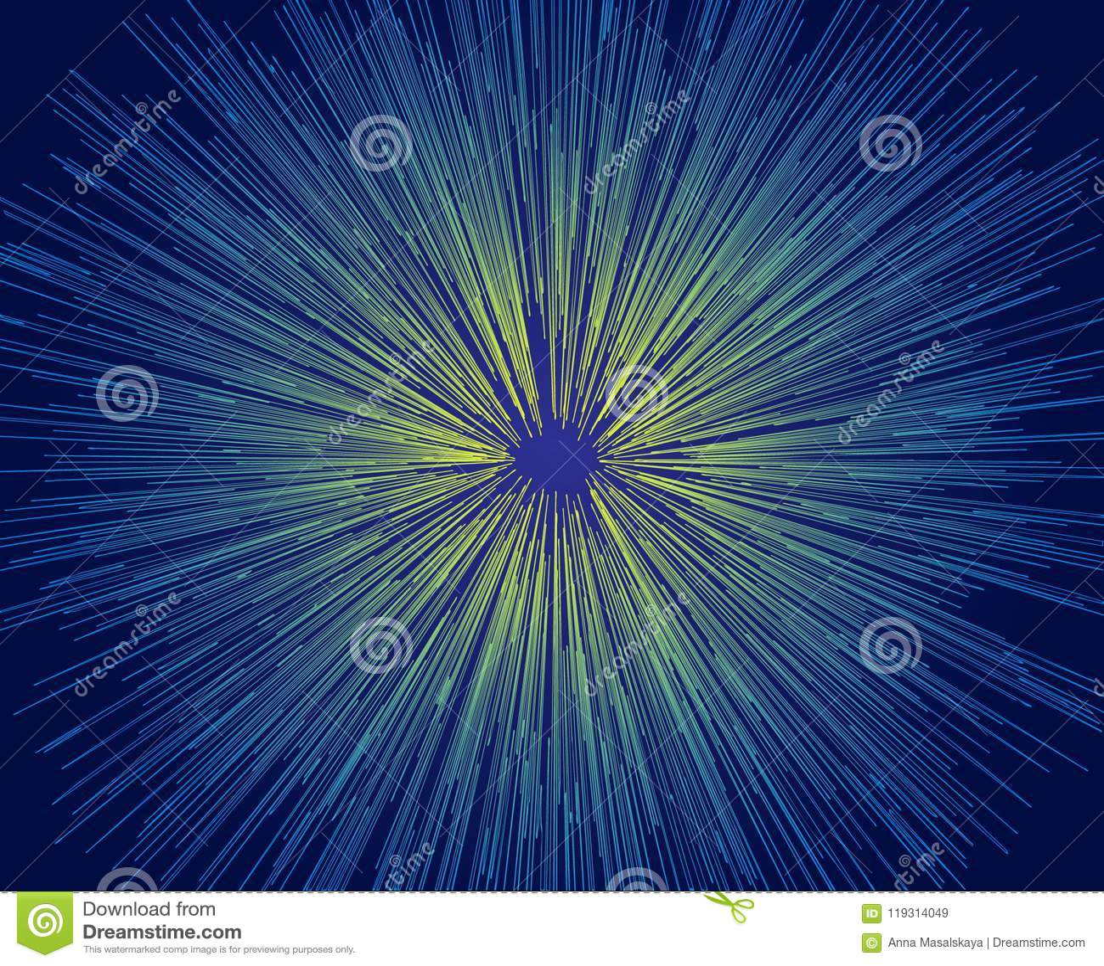 Vector Illustration abstrakten blauen und gelben Linien auf einem schwarzen Hintergrund