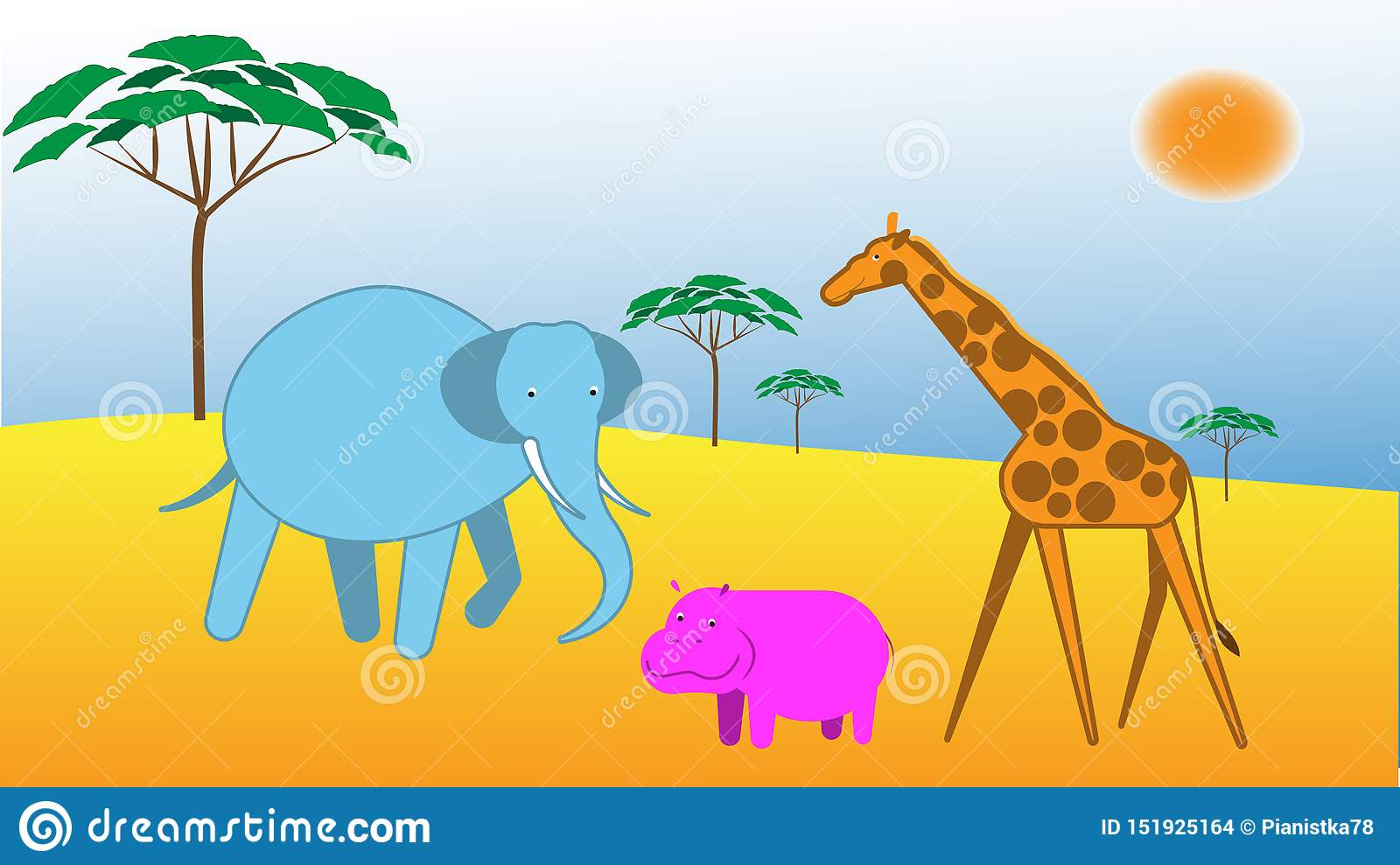 Vector illustration with african lanscape and animals