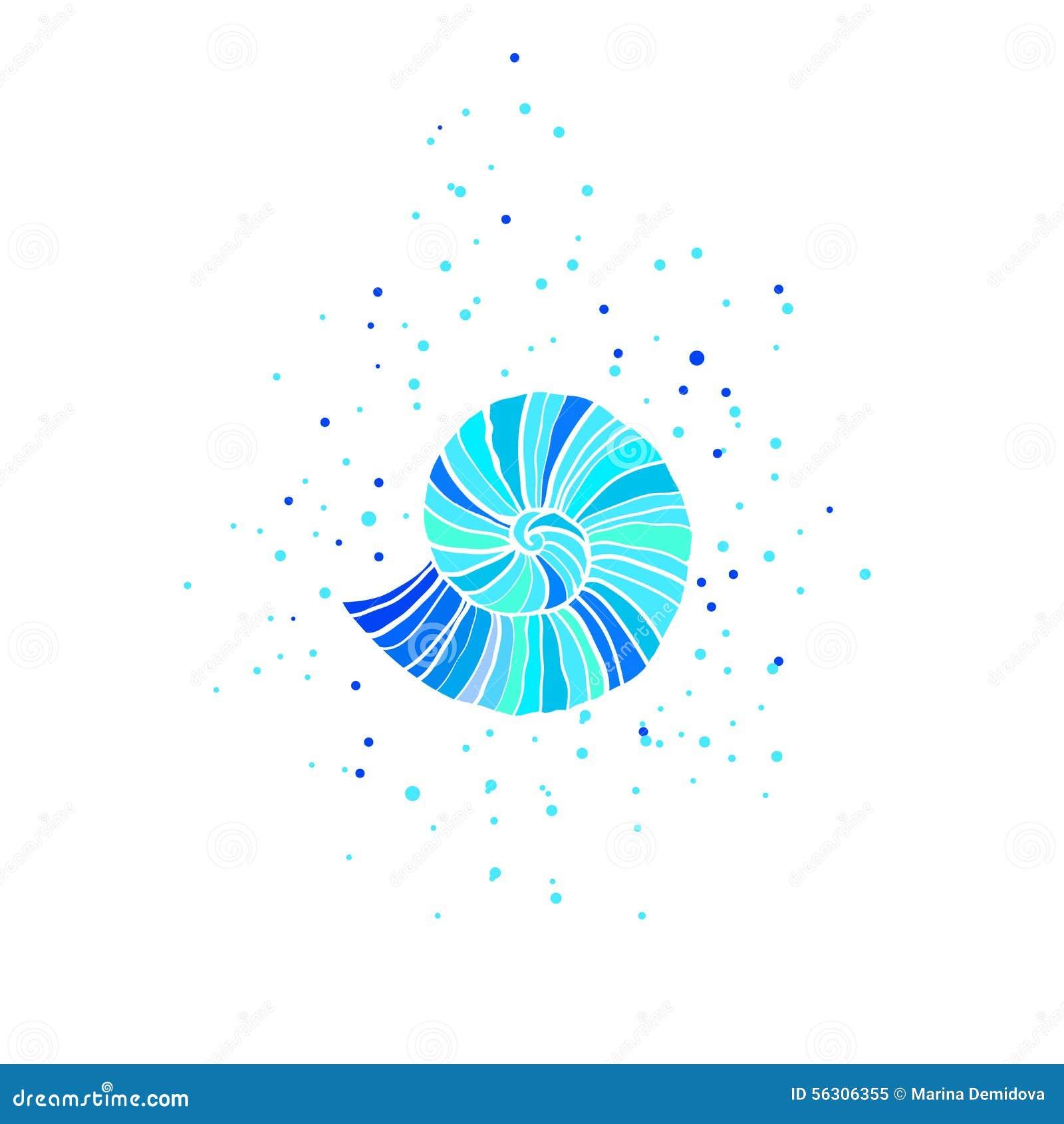 Vector illustration with ammonite. Sea theme