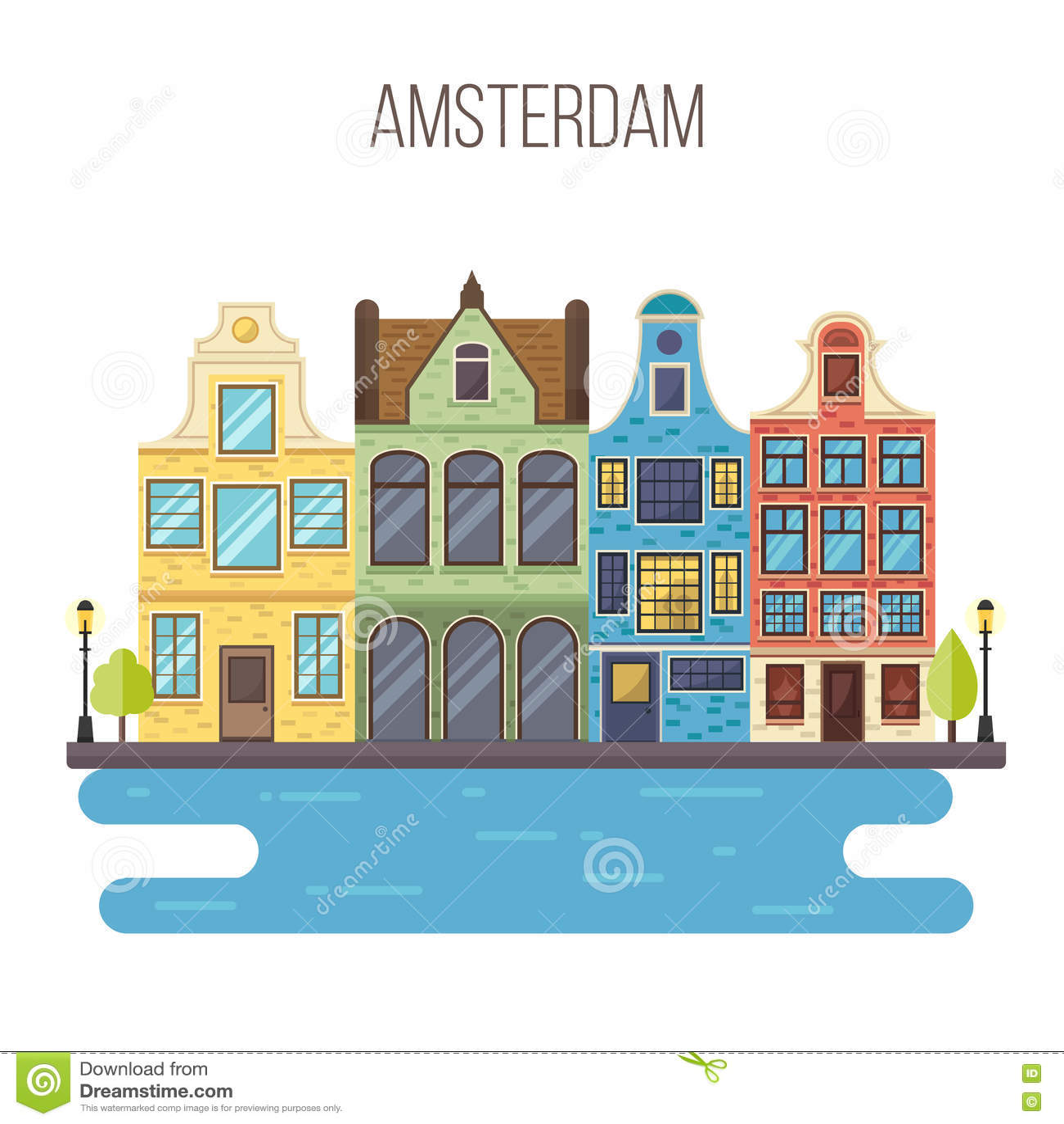 Vector Illustration Of Amsterdam Cityscape. Stock Vector