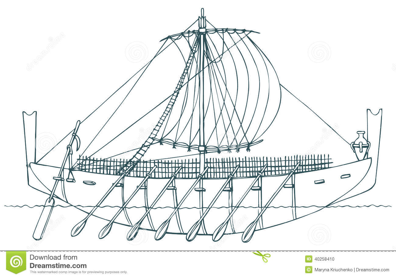 Vector Illustration. Ancient Phoenician Ship Stock Vector - Image: 40258410