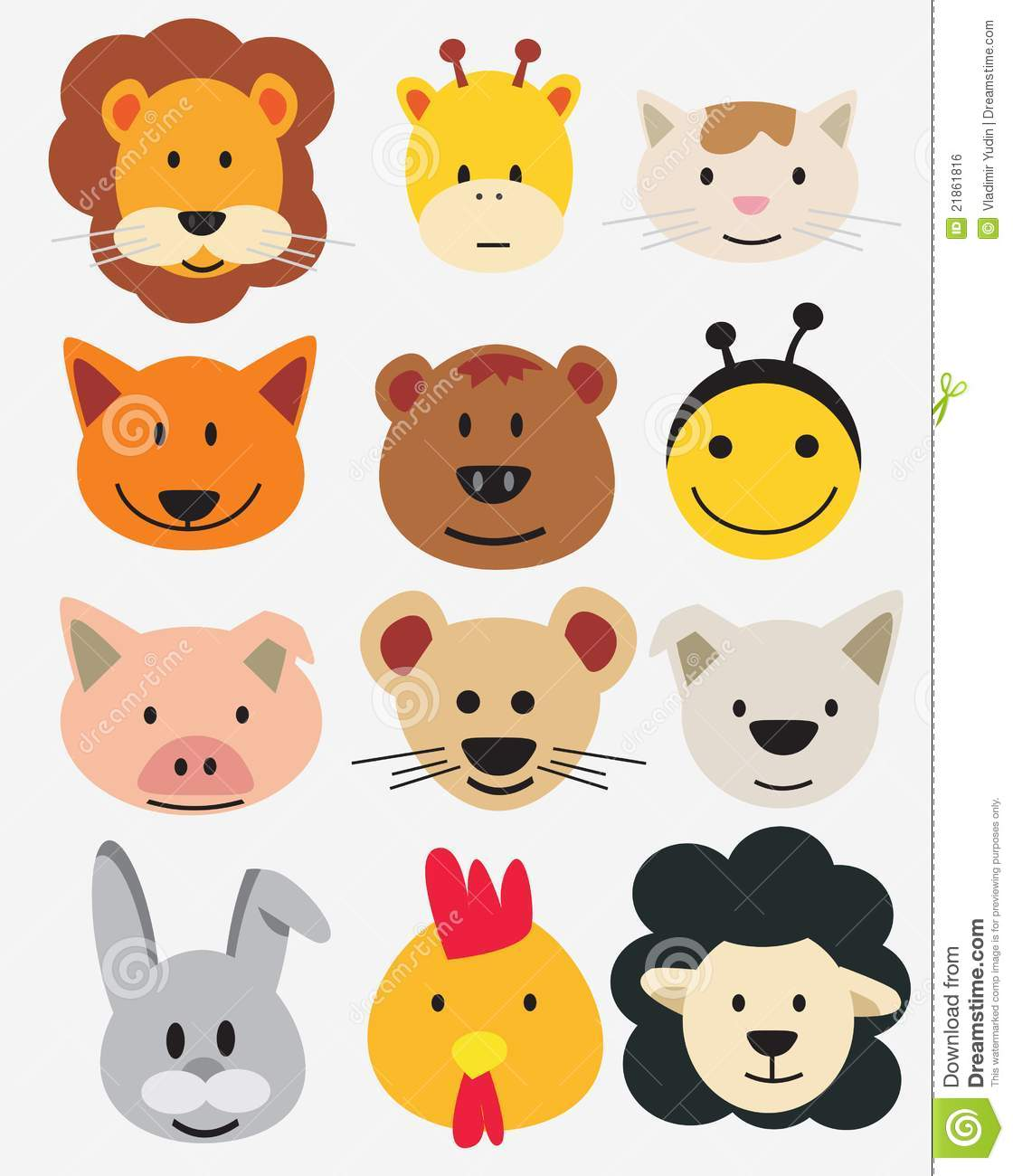 Vector Illustration Of Animal Faces. Stock Vector - Image ... - photo#33