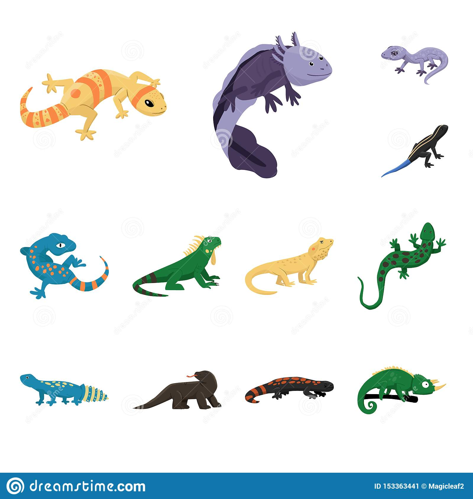 Vector illustration of animal and reptile logo. Set of animal and nature vector icon for stock.