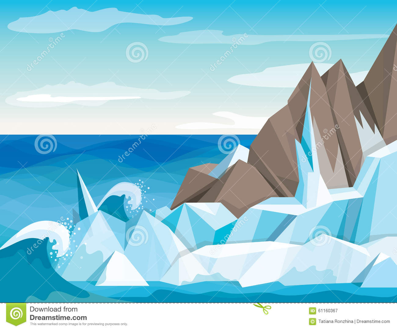 Vector Illustration Antarctic Landscape Stock Vector