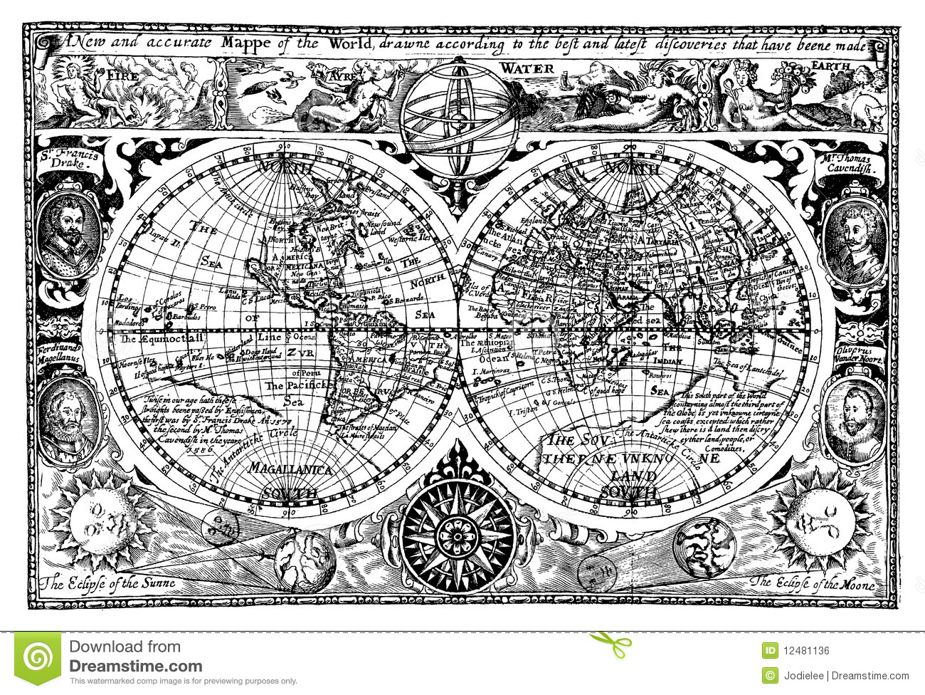 Vector Illustration Antique World Map Stock Vector - Illustration of on old map sea monsters, old world maps framed, ancient beasts and monsters, antique nautical monsters, maps with sea monsters, see monsters, old world maps with mermaids, nice silly sea monsters, old maps of the world, map of us monsters, old world map with countries, here there be monsters, old world maps murals, old world explorer maps, old world maps printable, old japanese monsters, ancient sea monsters, vintage maritime sea monsters, old nautical maps,