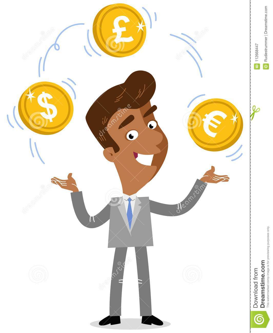 Vector Illustration Of An Asian Cartoon Businessman Juggling Euro